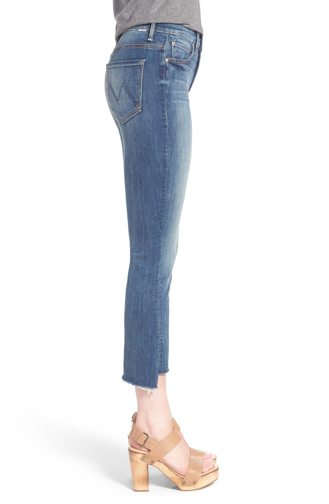 'The Insider' Crop Step Fray Jeans,                             Alternate thumbnail 4, color,                             420