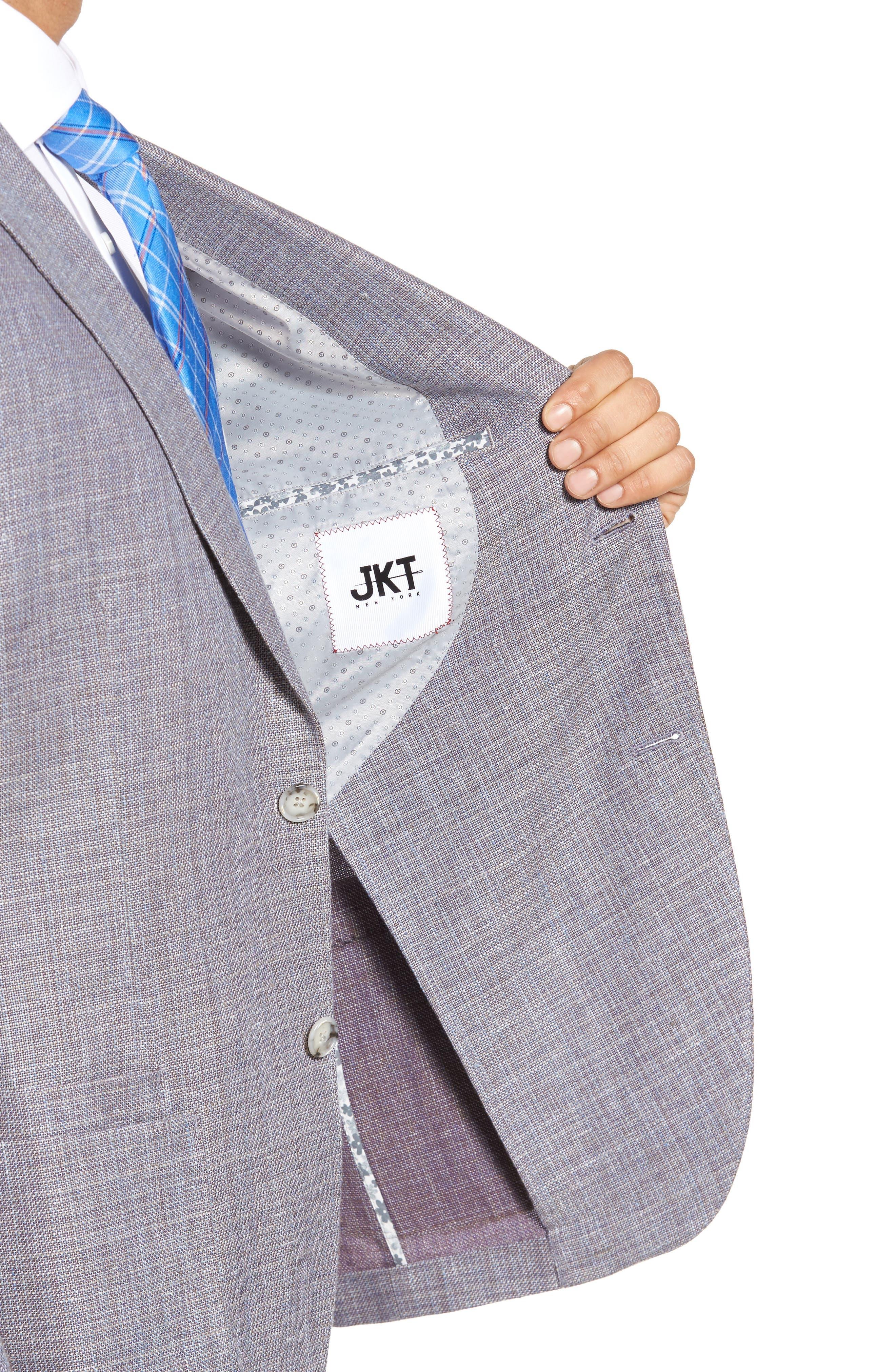 JKT NEW YORK,                             Trim Fit Wool & Linen Blazer,                             Alternate thumbnail 4, color,                             020