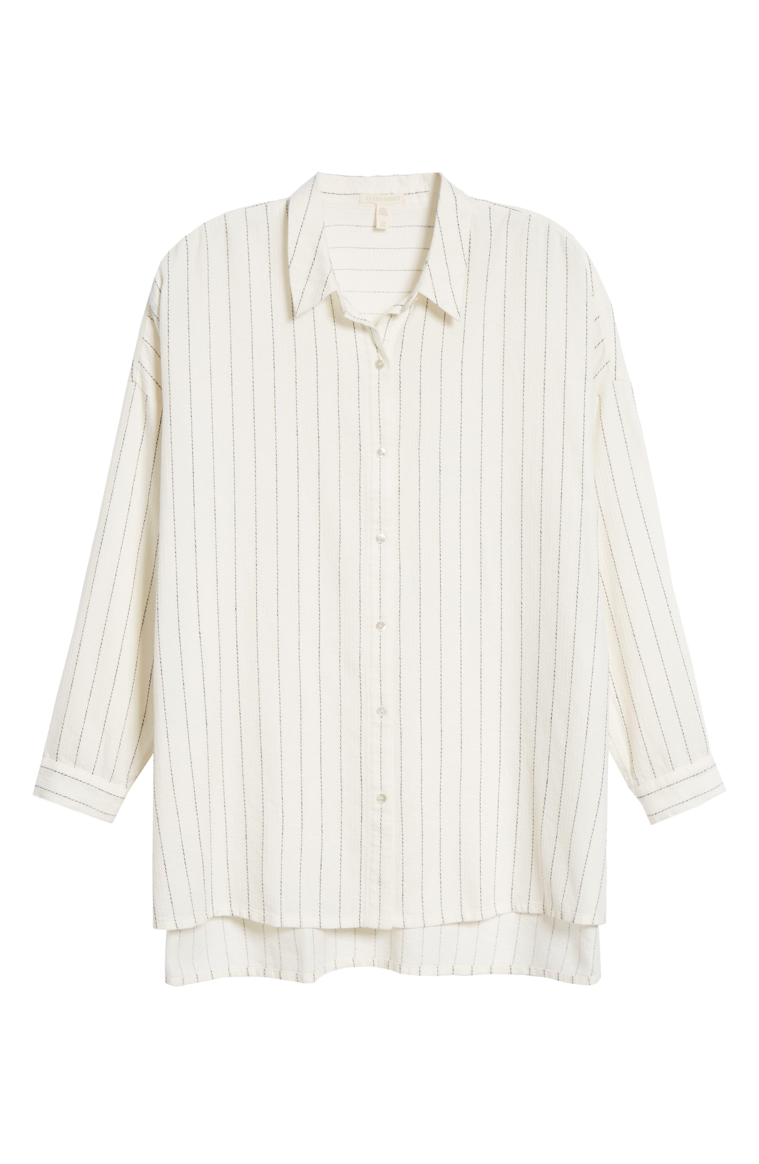Boxy Stripe Shirt,                             Alternate thumbnail 6, color,                             ECRU