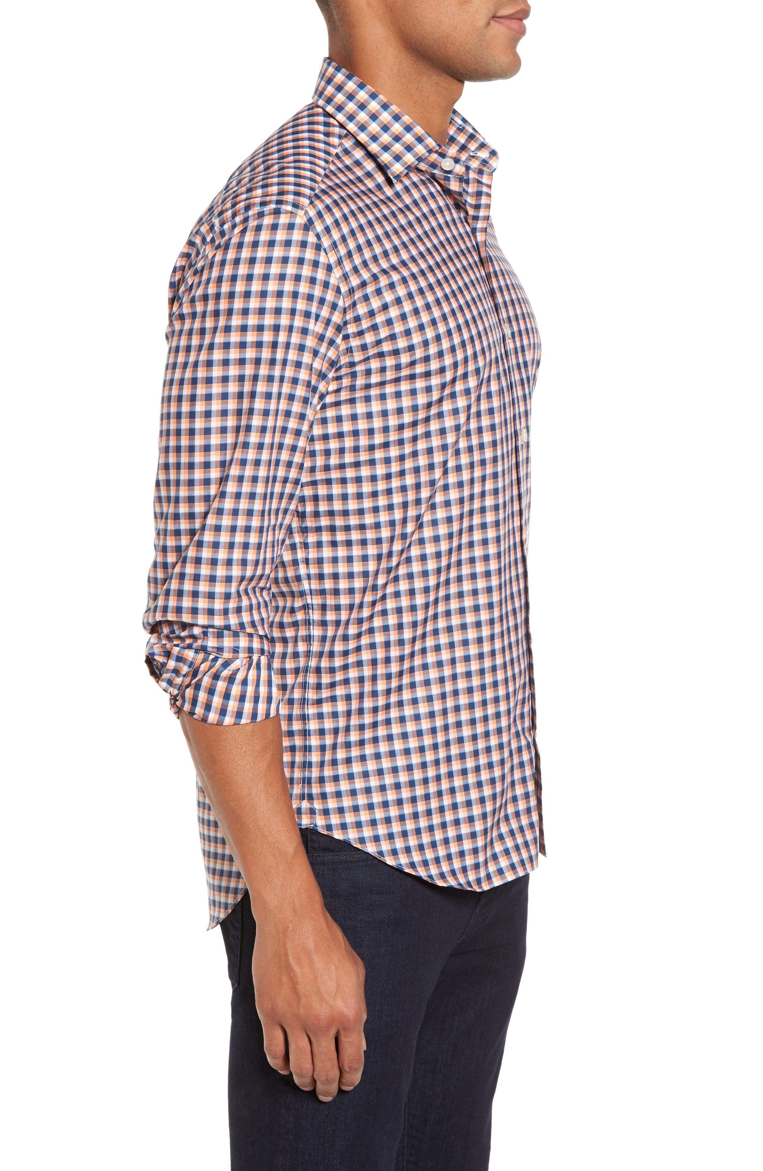 Slim Fit Check Twill Sport Shirt,                             Alternate thumbnail 3, color,                             800