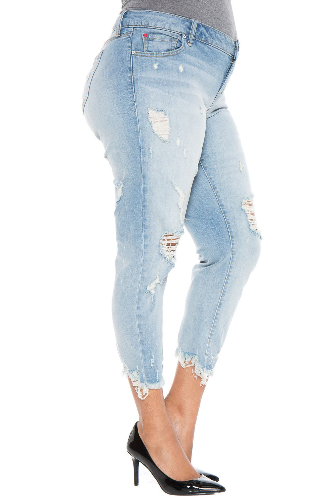 Frayed Hem Ripped Boyfriend Jeans,                             Alternate thumbnail 3, color,                             455