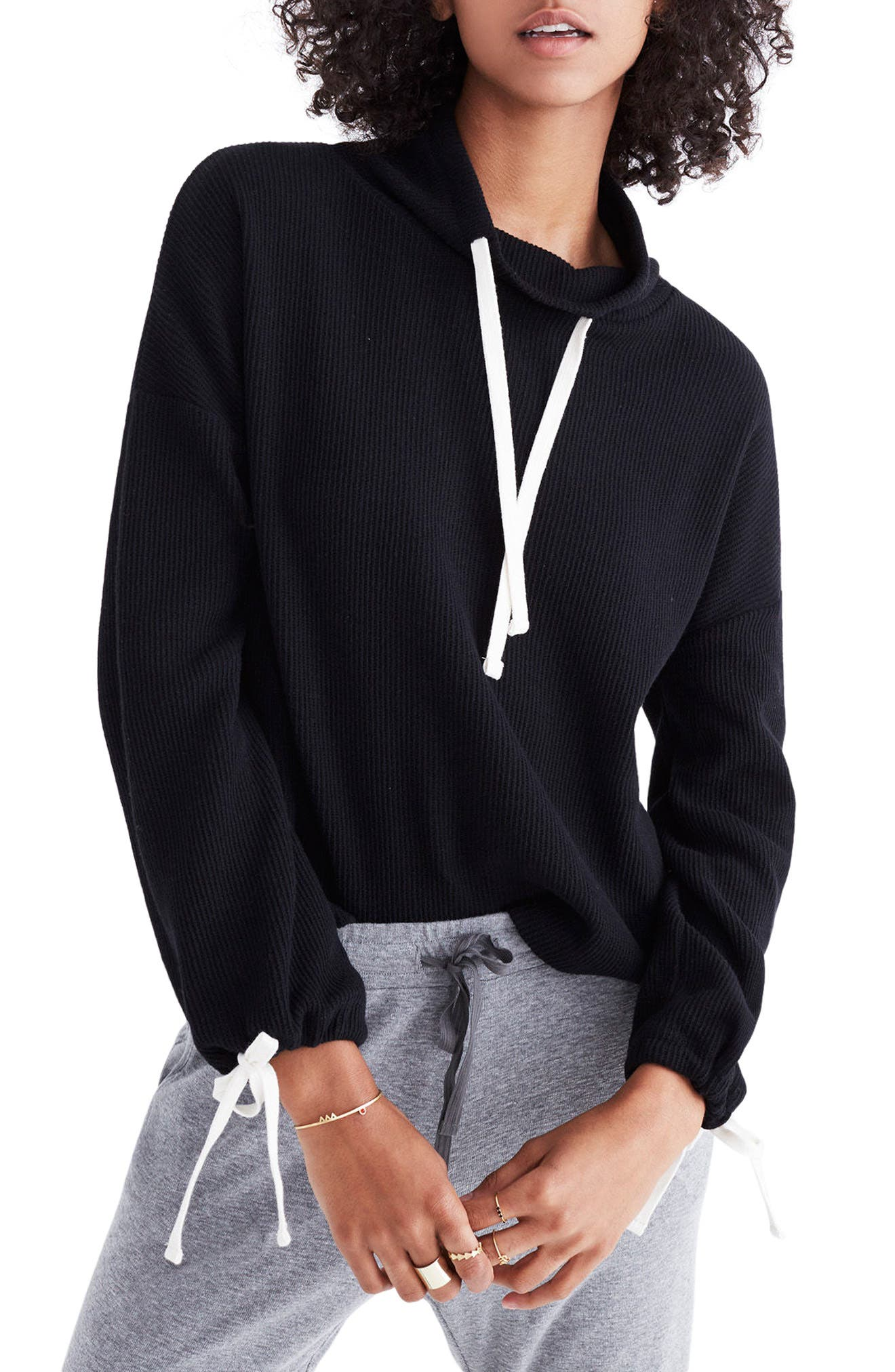 Funnel Neck Tie Sleeve Sweatshirt,                         Main,                         color, 001