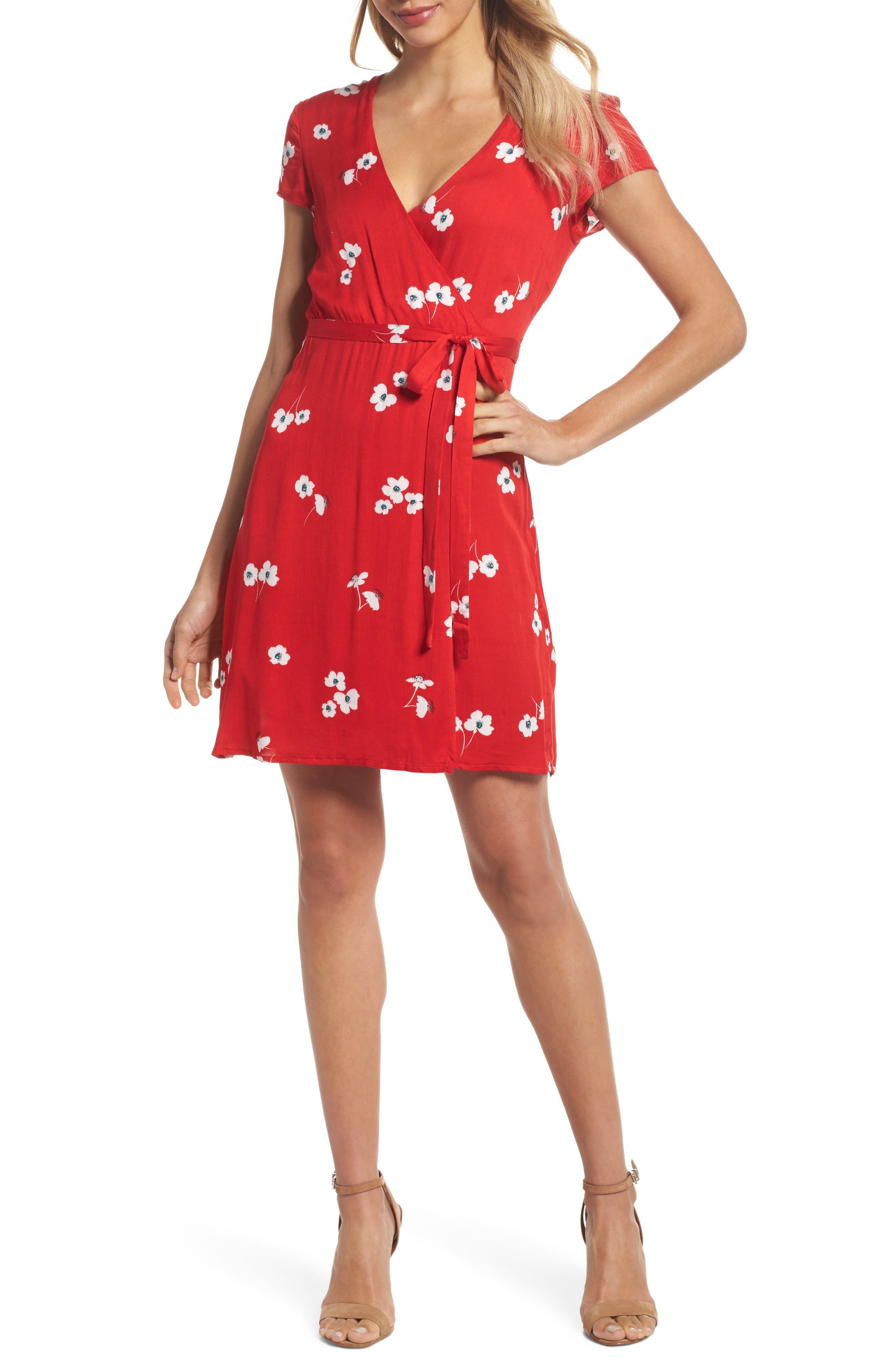Edie Floral Faux Wrap Dress,                             Main thumbnail 1, color,                             645
