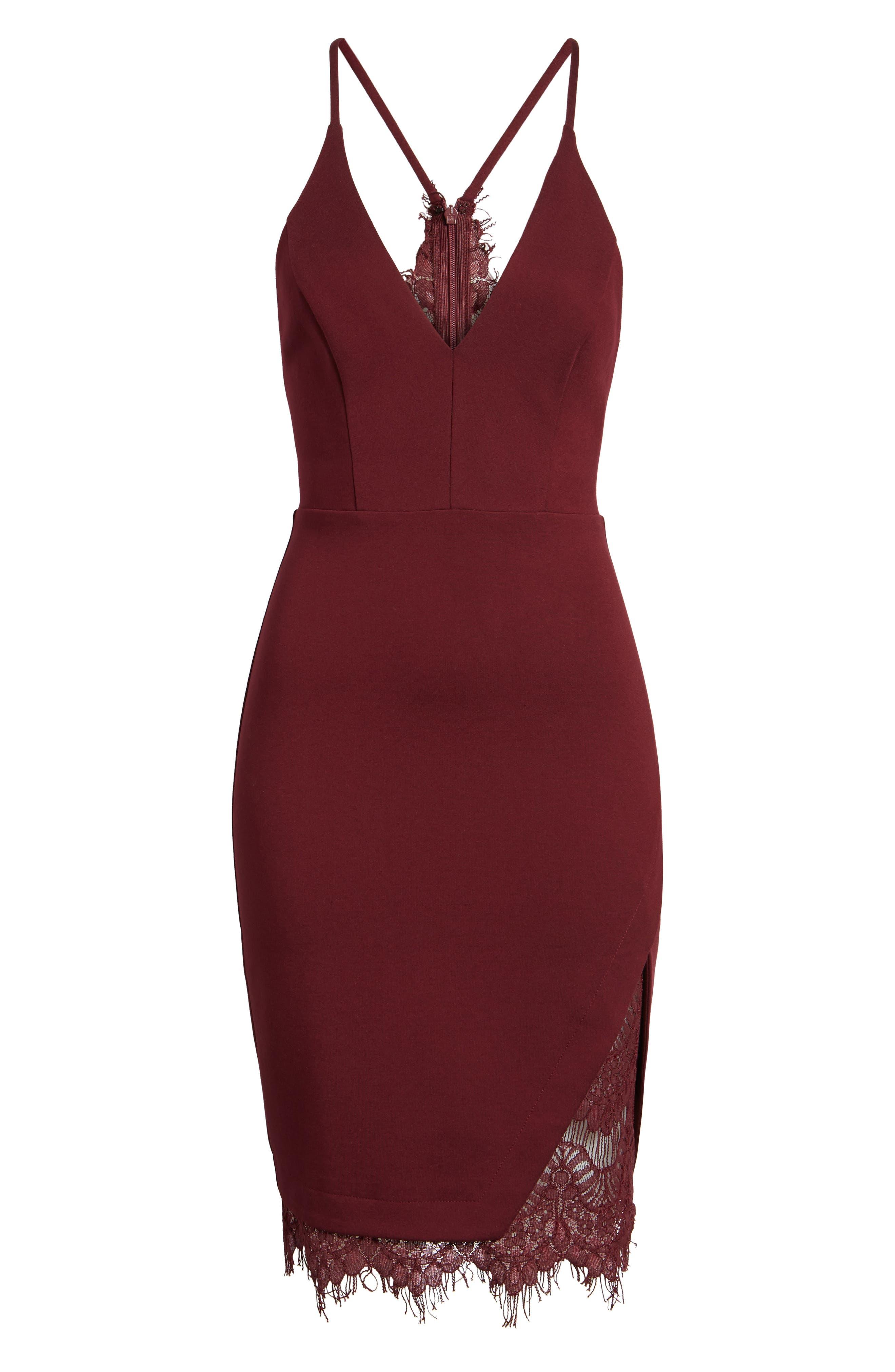 Lace Body-Con Dress,                             Alternate thumbnail 6, color,
