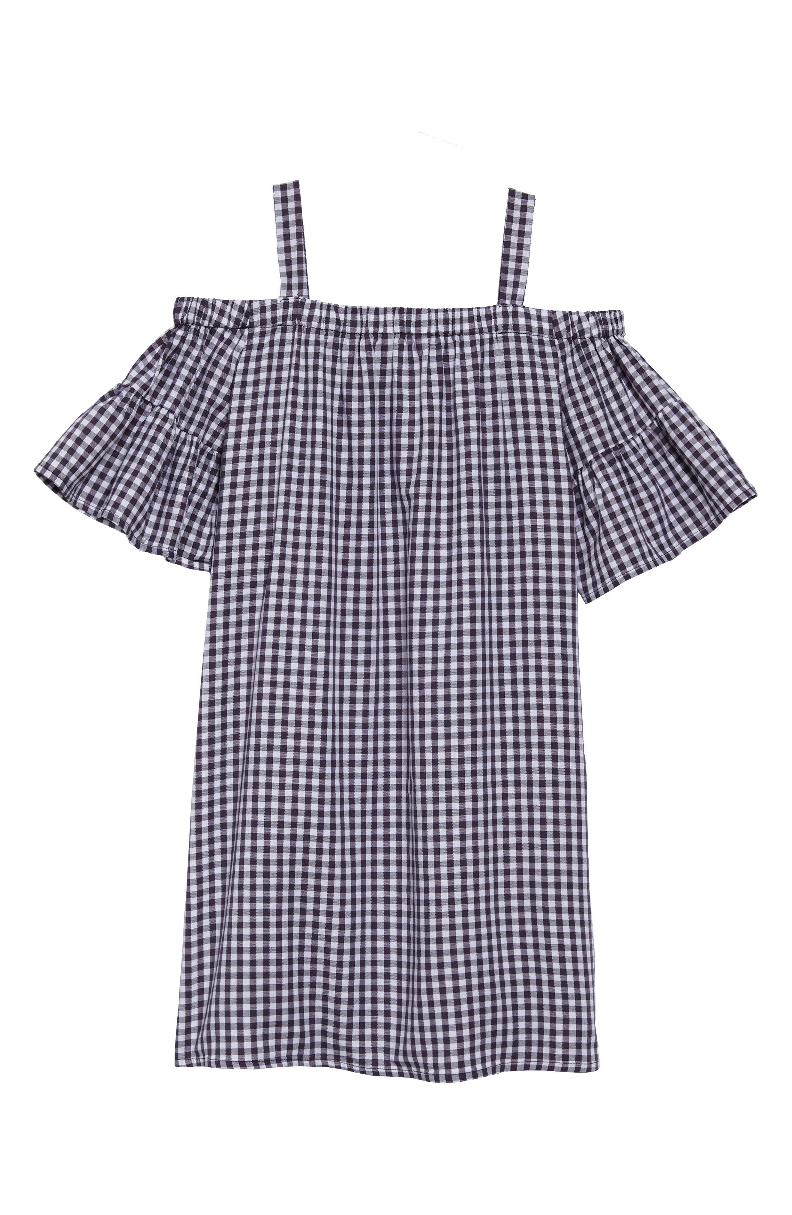 Jenny Check Cold Shoulder Dress,                             Alternate thumbnail 2, color,                             001