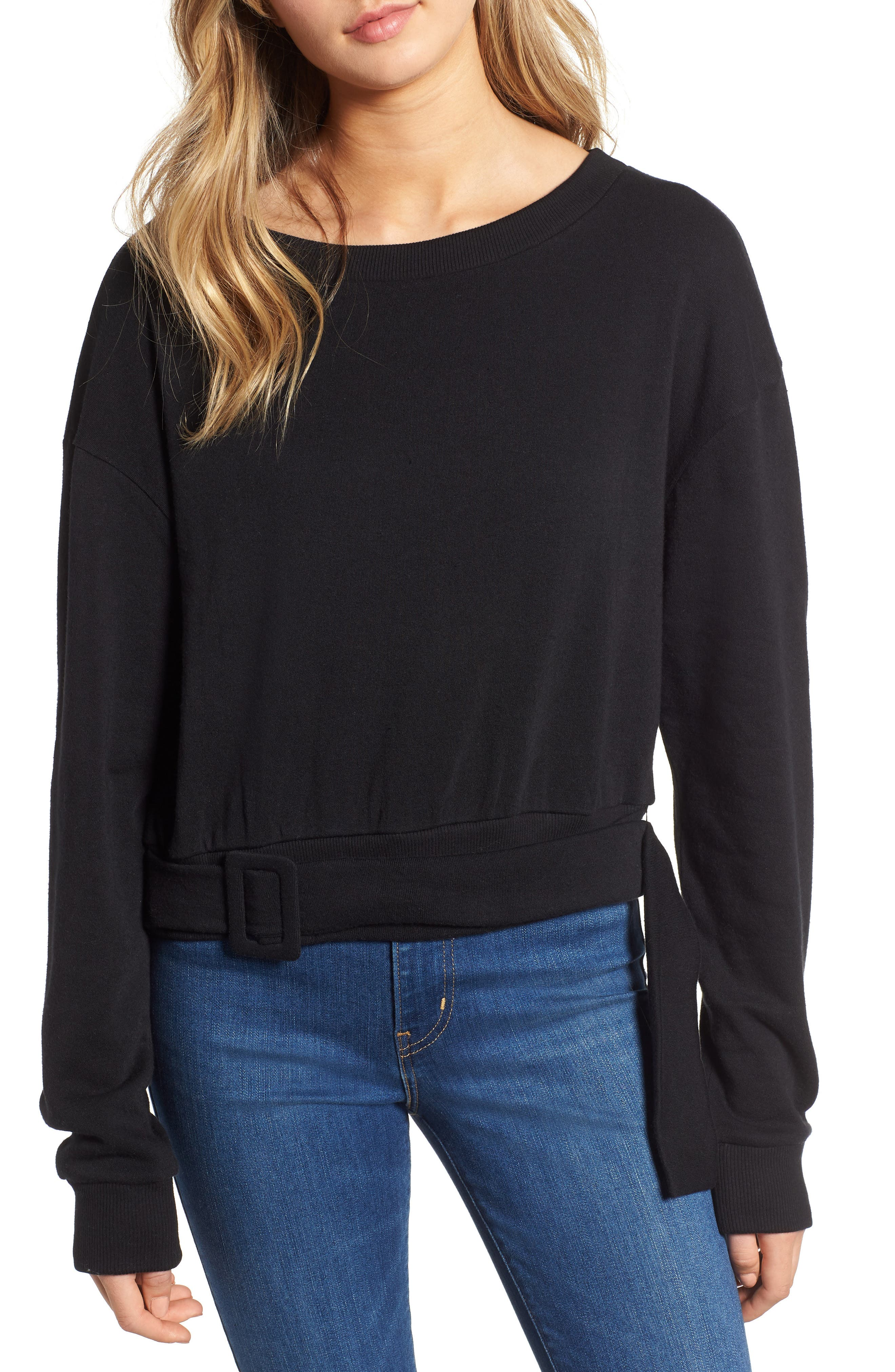 Belted Fleece Sweatshirt,                         Main,                         color, BLACK