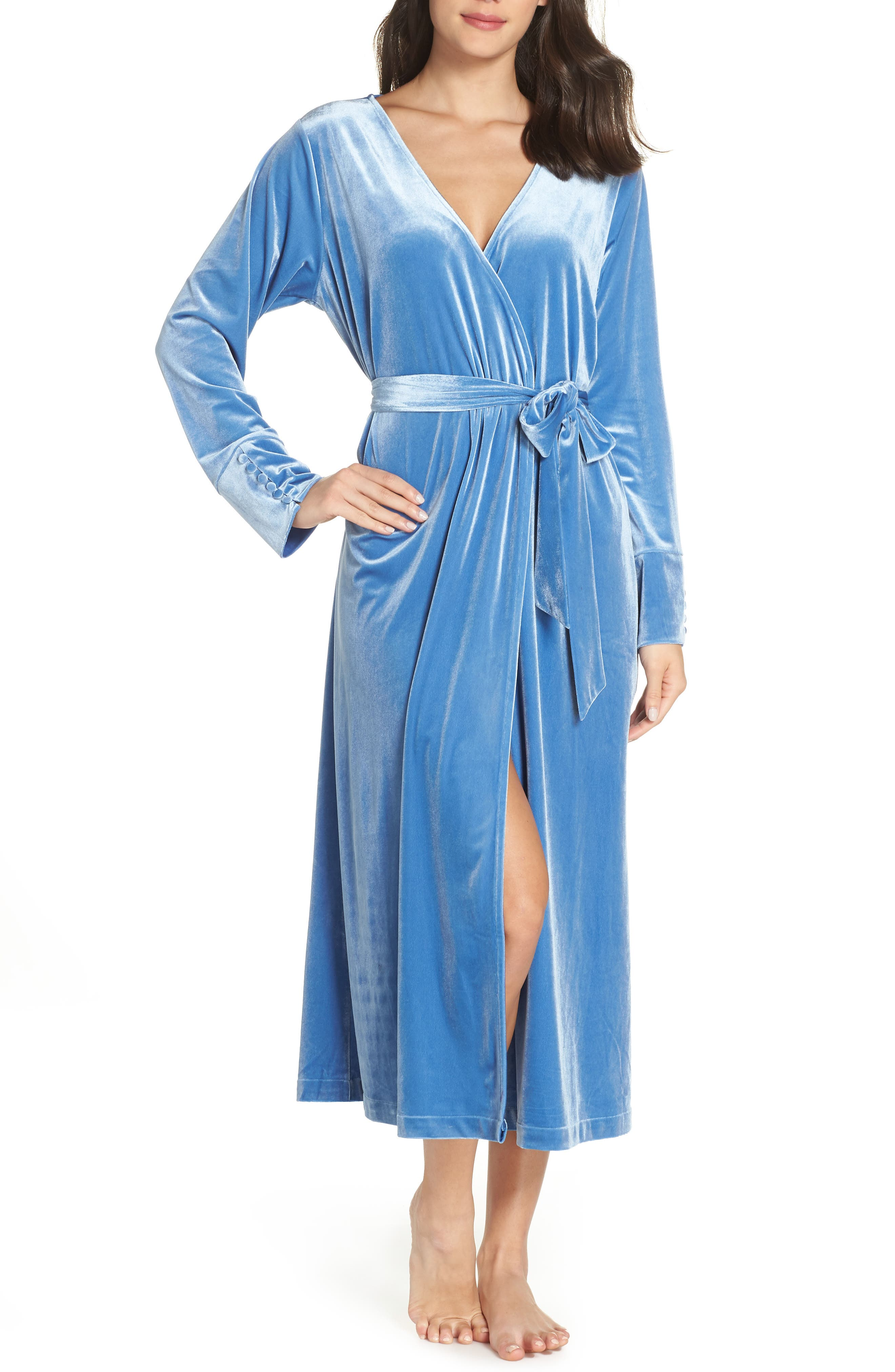 Dream Away Velour Robe,                         Main,                         color, BLUE DELFT
