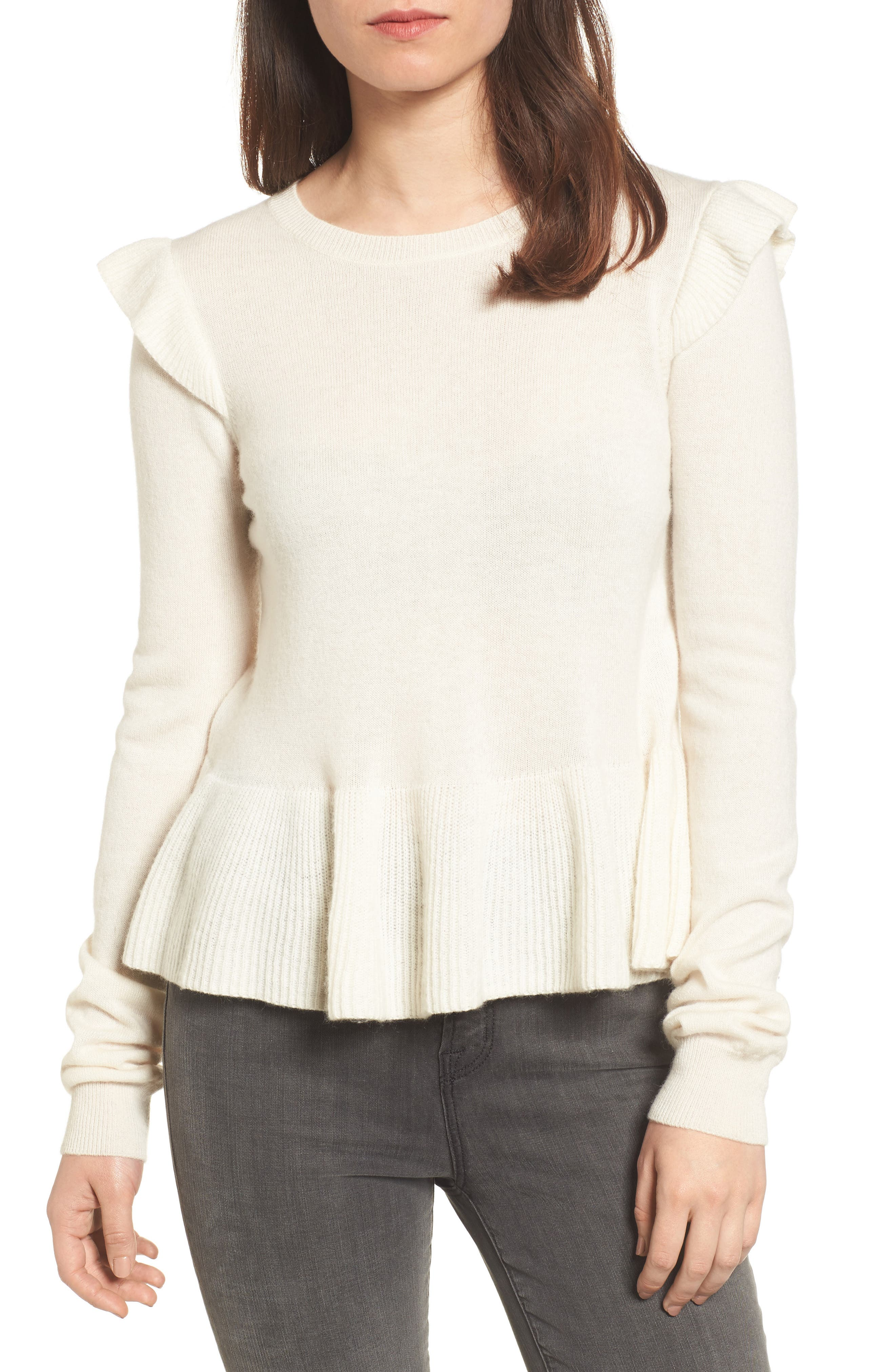 Regina Ruffle Wool & Cashmere Sweater,                         Main,                         color, 100