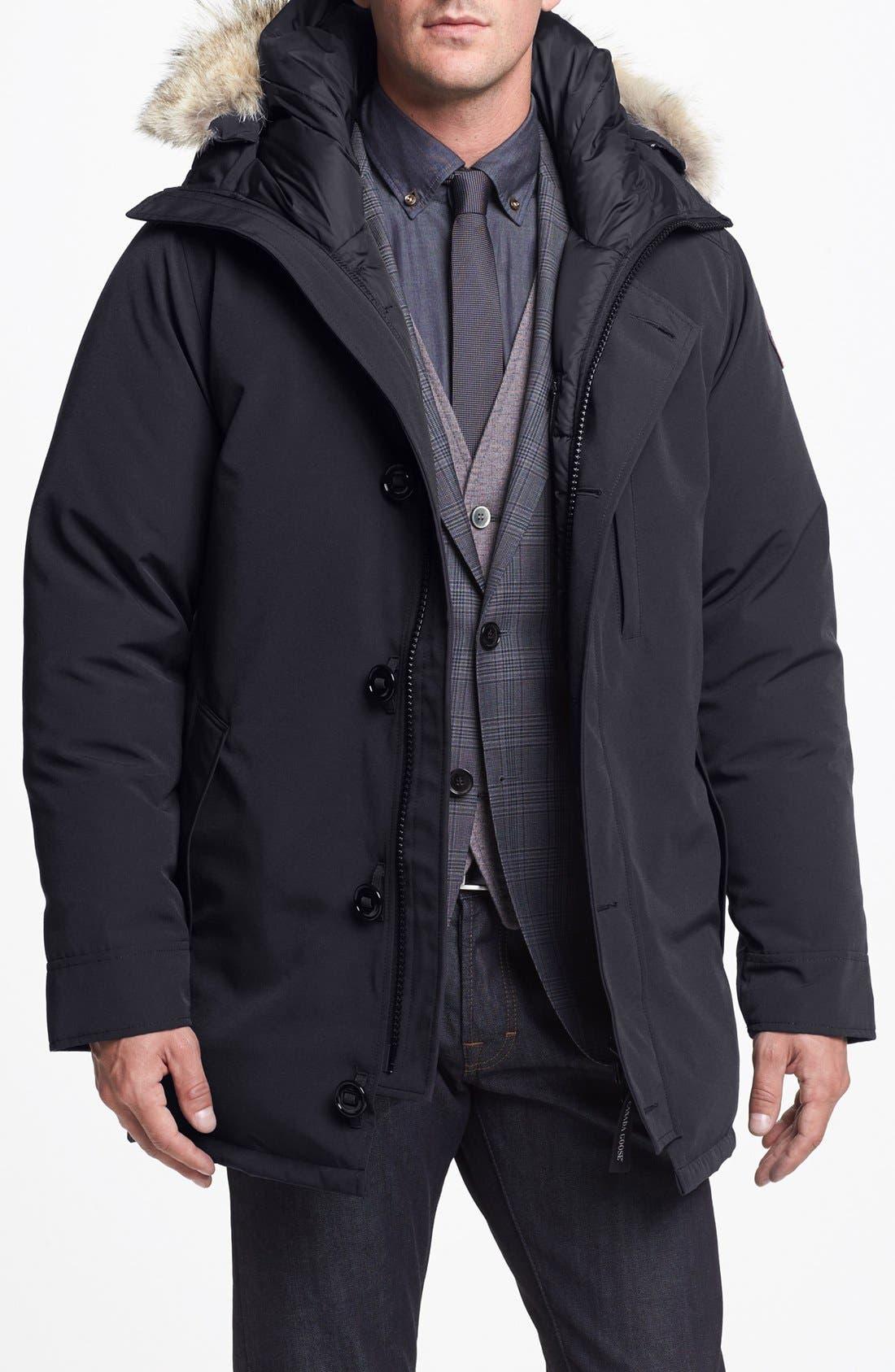'Chateau' Slim Fit Genuine Coyote Fur Trim Jacket,                             Main thumbnail 1, color,                             021