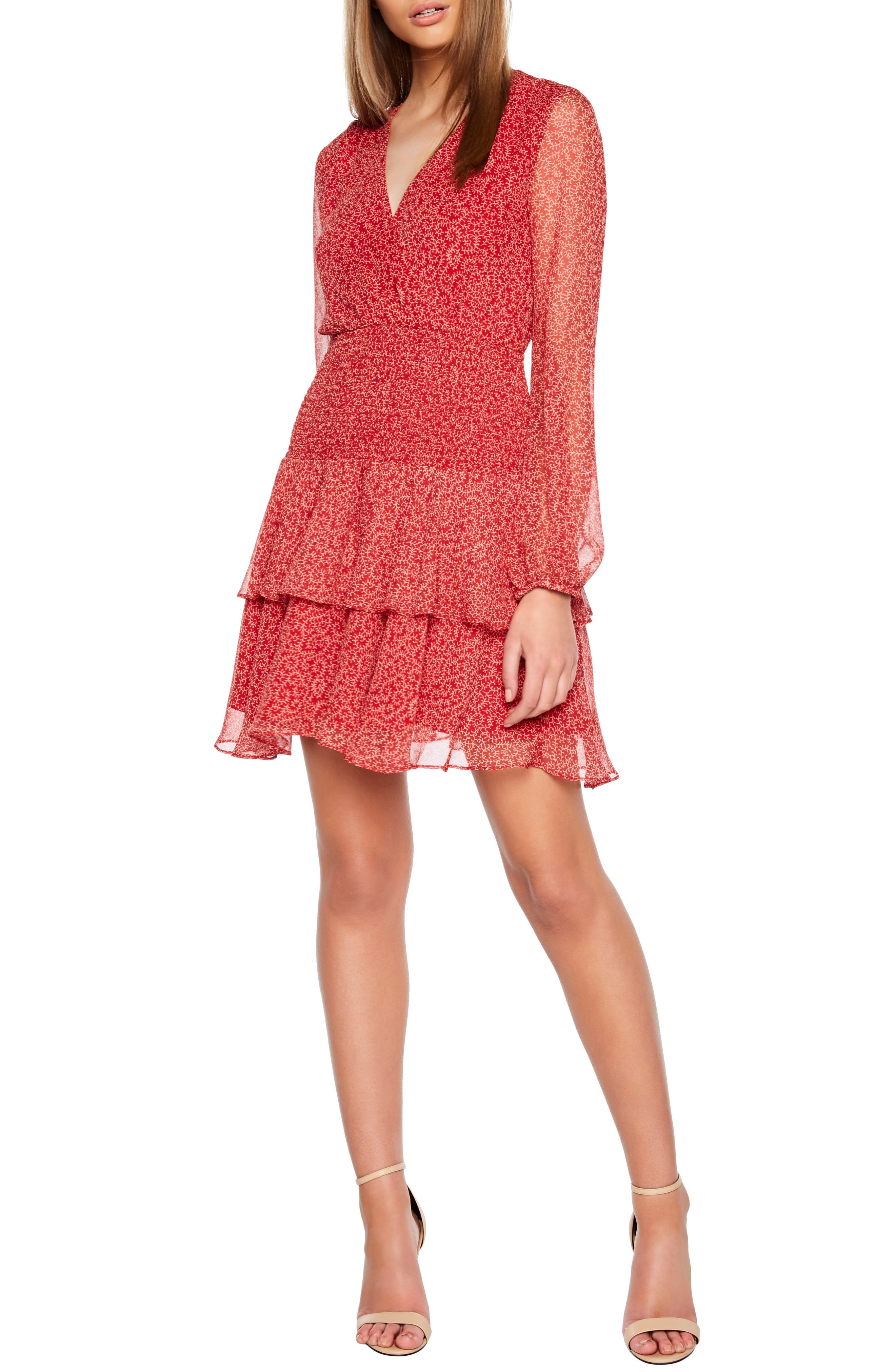 Bardot Ditsy Floral Print Minidress, Red