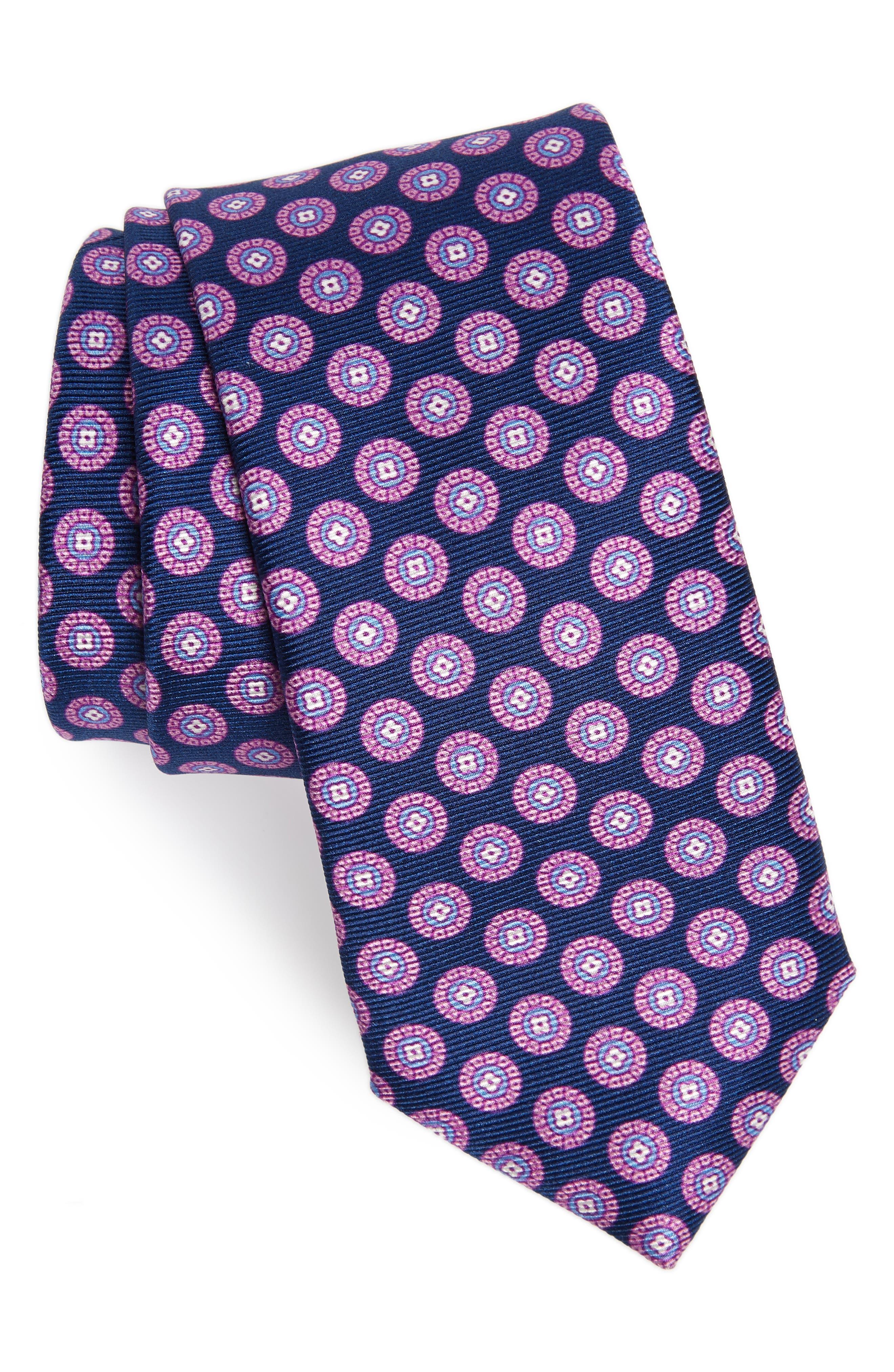 Nicolas Medallion Silk Tie,                         Main,                         color, NAVY