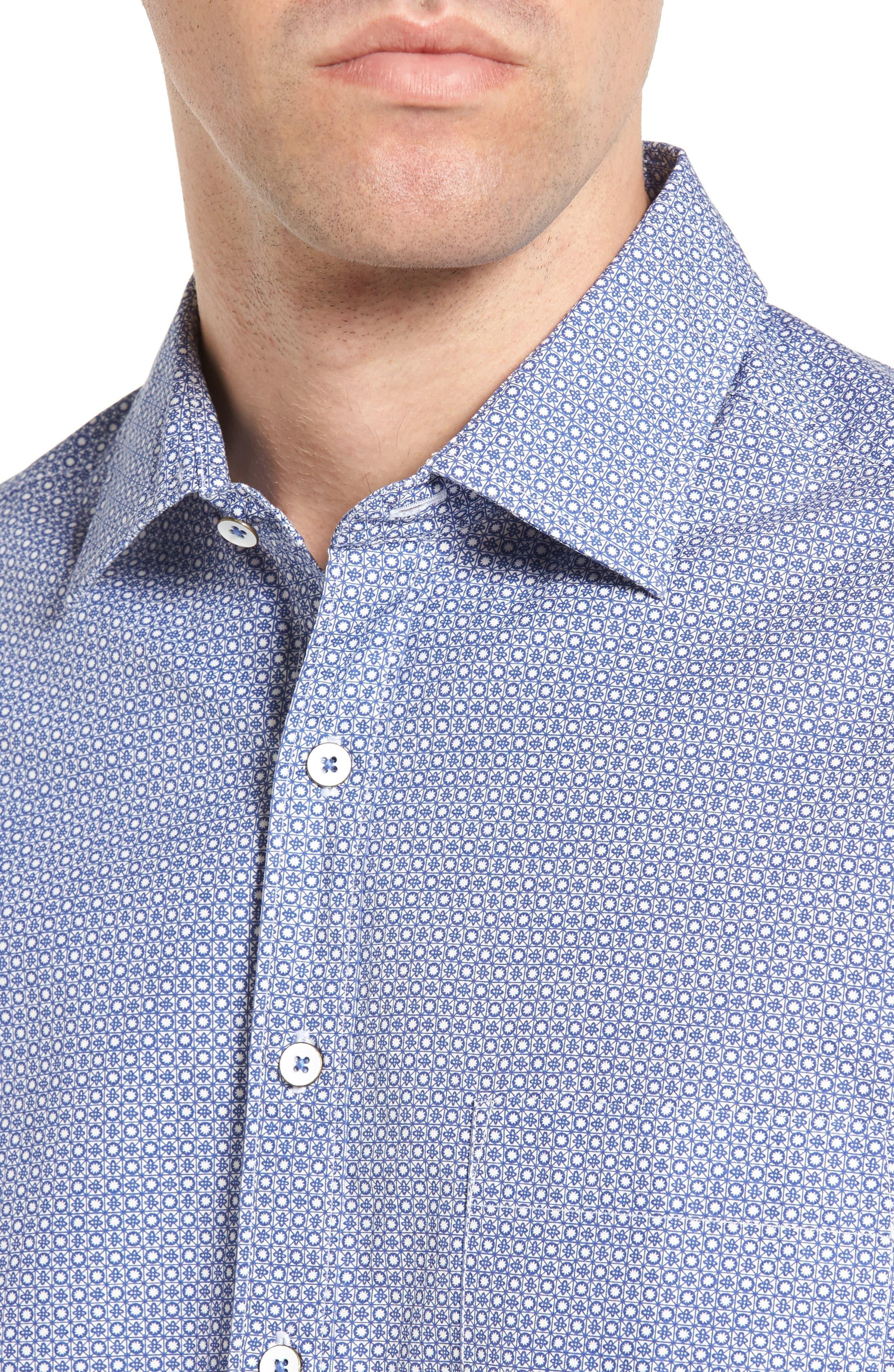 Sullivan Regular Fit Print Sport Shirt,                             Alternate thumbnail 4, color,                             459