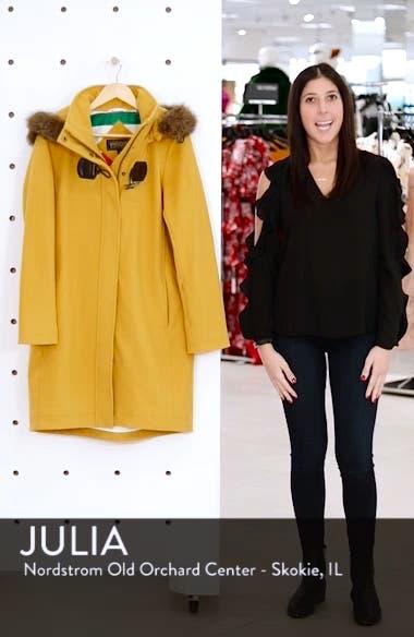 St Marie Wool Hooded Coat with Genuine Raccoon Fur Trim, sales video thumbnail