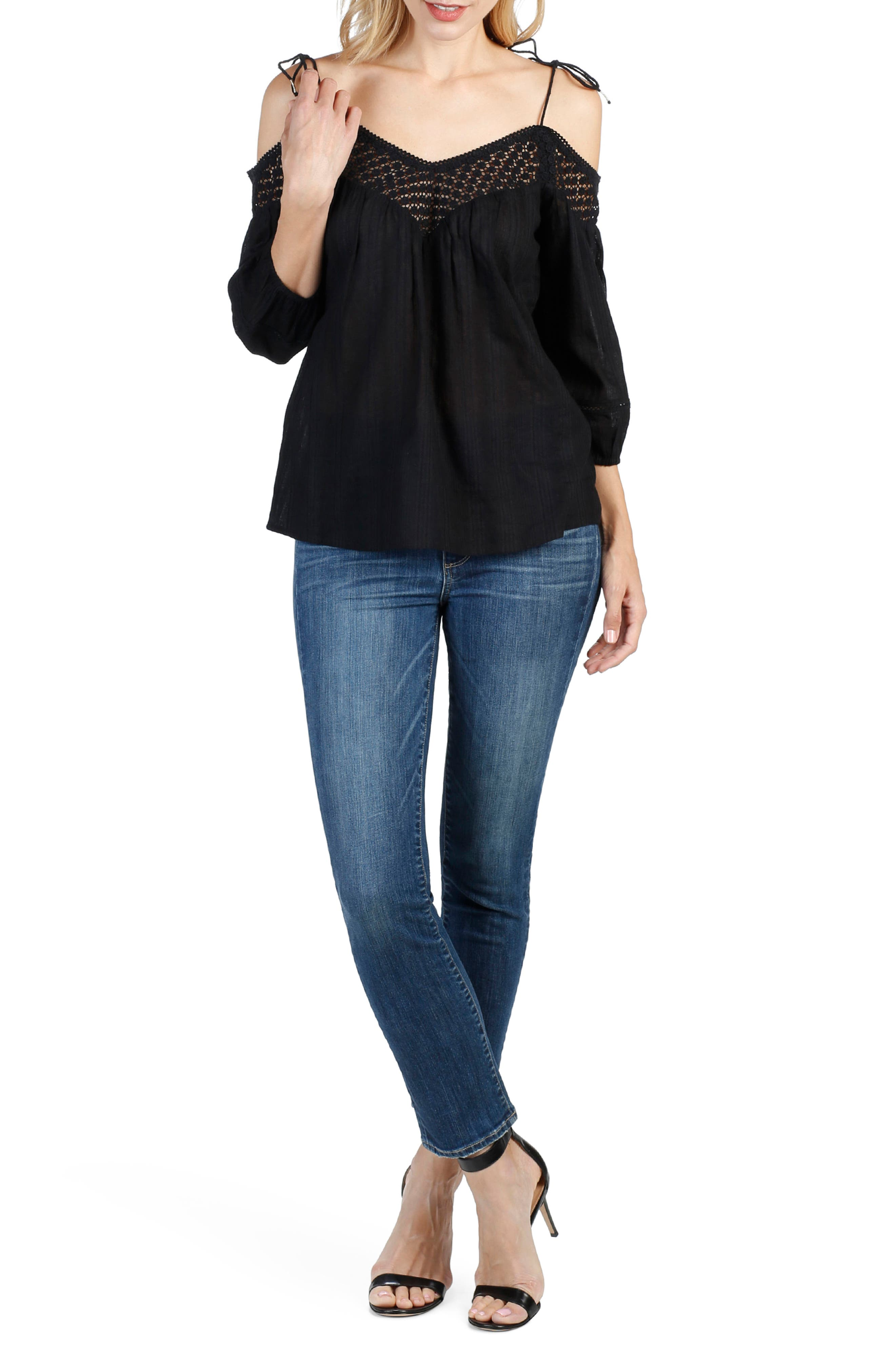 Polly Off the Shoulder Blouse,                         Main,                         color, 001