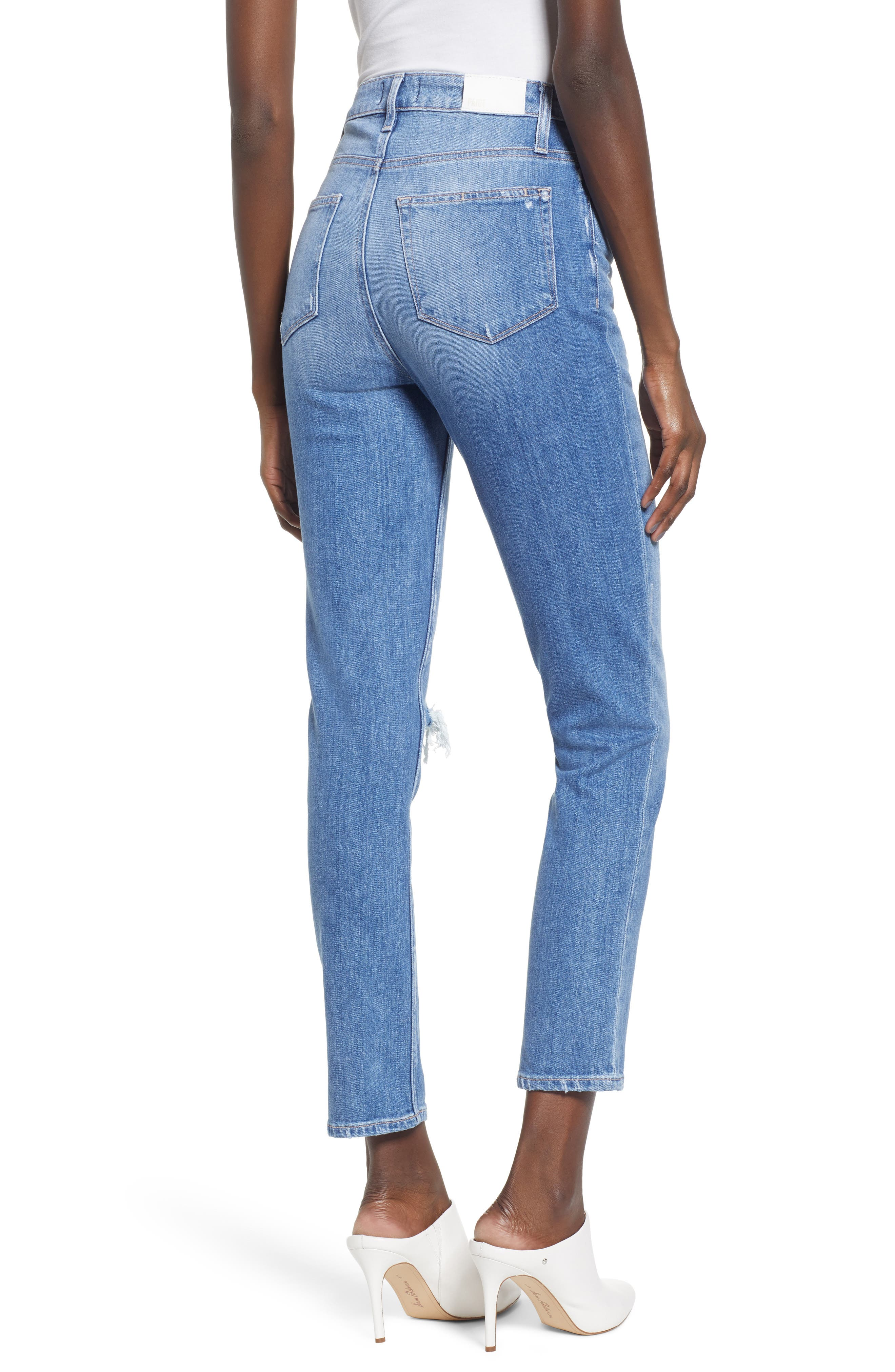 Sarah Ripped High Waist Ankle Straight Leg Jeans,                             Alternate thumbnail 2, color,                             BROOKVIEW DESTRUCTED