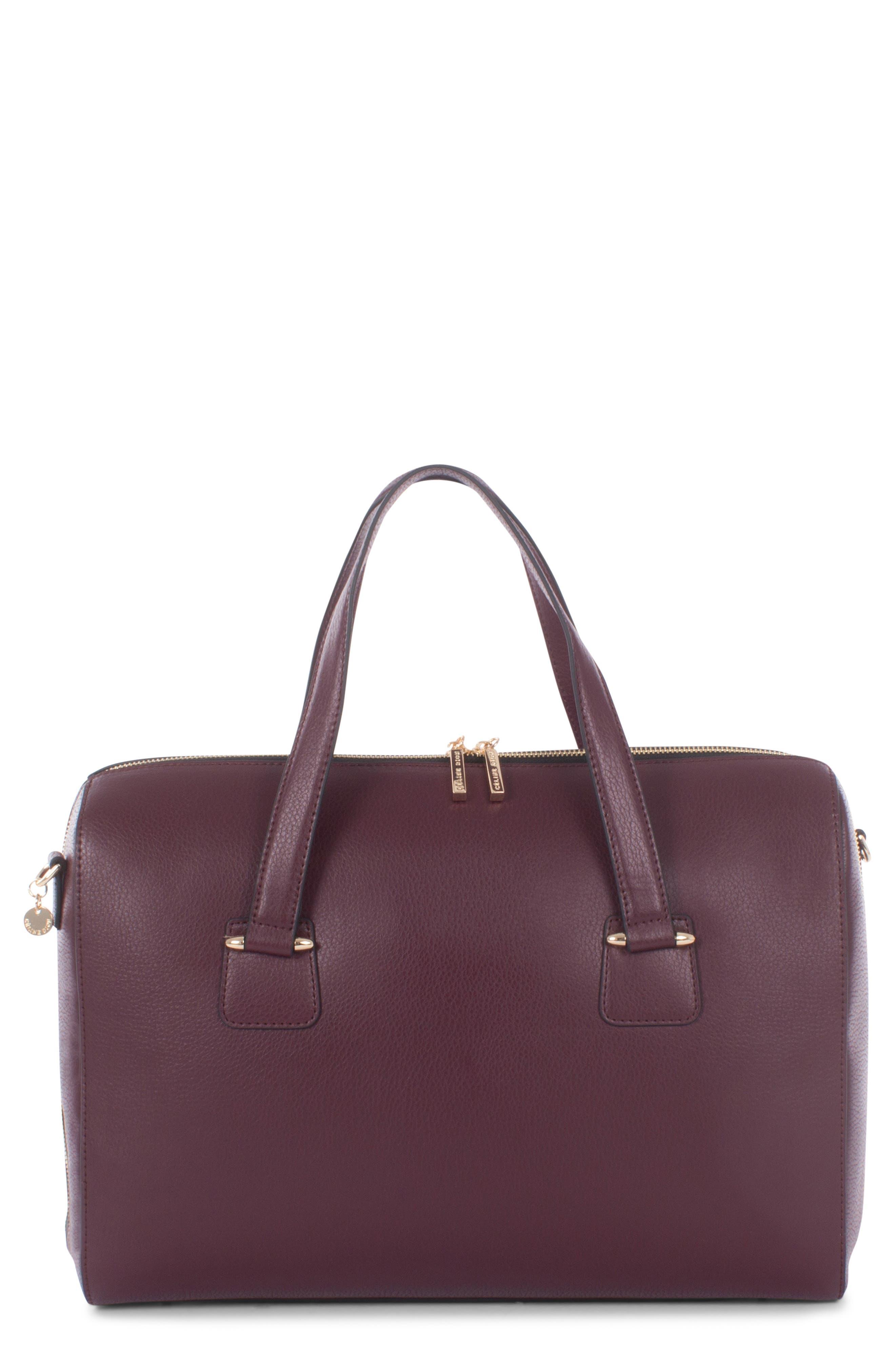 Céline Dion Triad Leather Satchel,                         Main,                         color, WINTER WINE