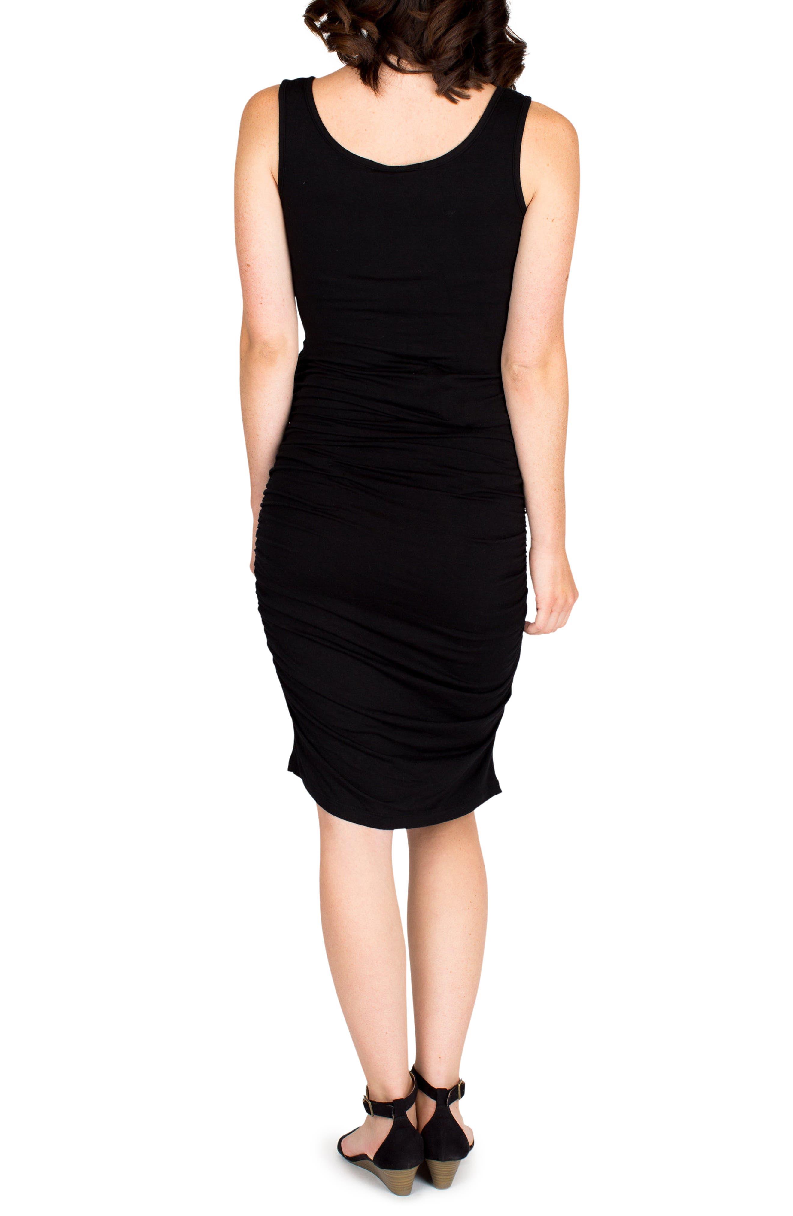 'Stella' Striped Jersey Maternity Dress,                             Alternate thumbnail 3, color,                             BLACK
