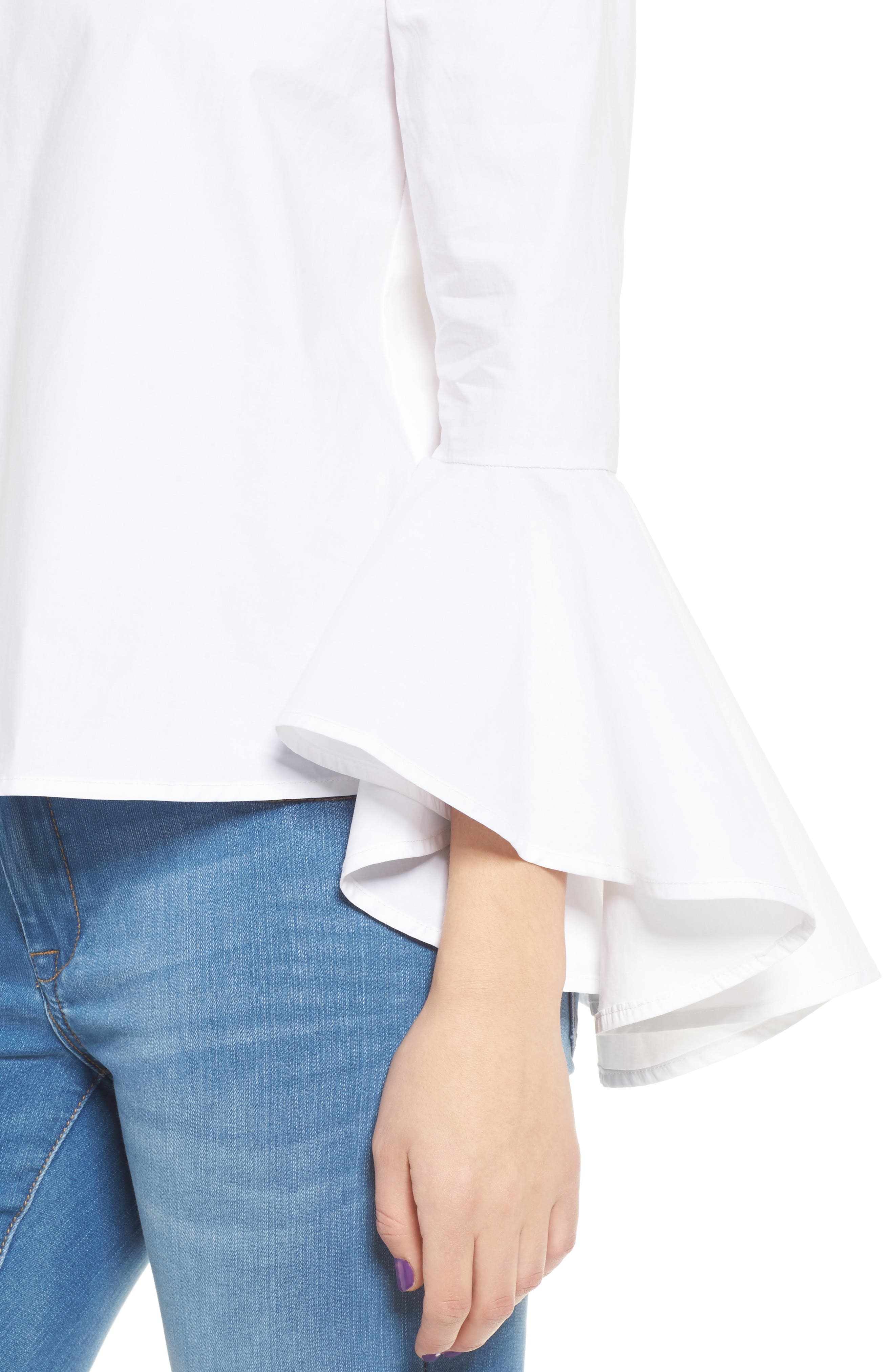 Bell Sleeve Off the Shoulder Blouse,                             Alternate thumbnail 4, color,                             100