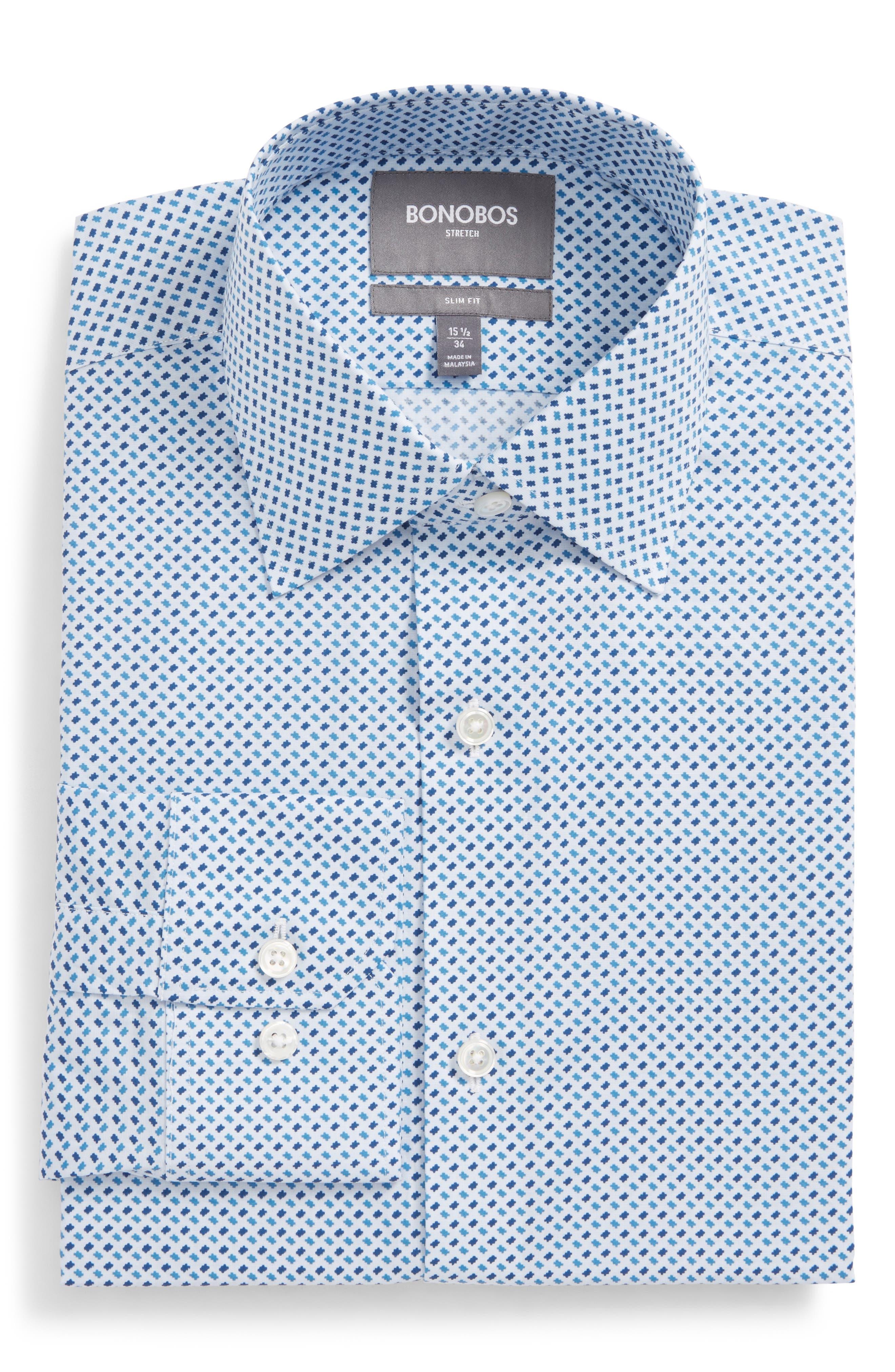 BONOBOS Easton Slim Fit Geometric Print Dress Shirt, Main, color, 400