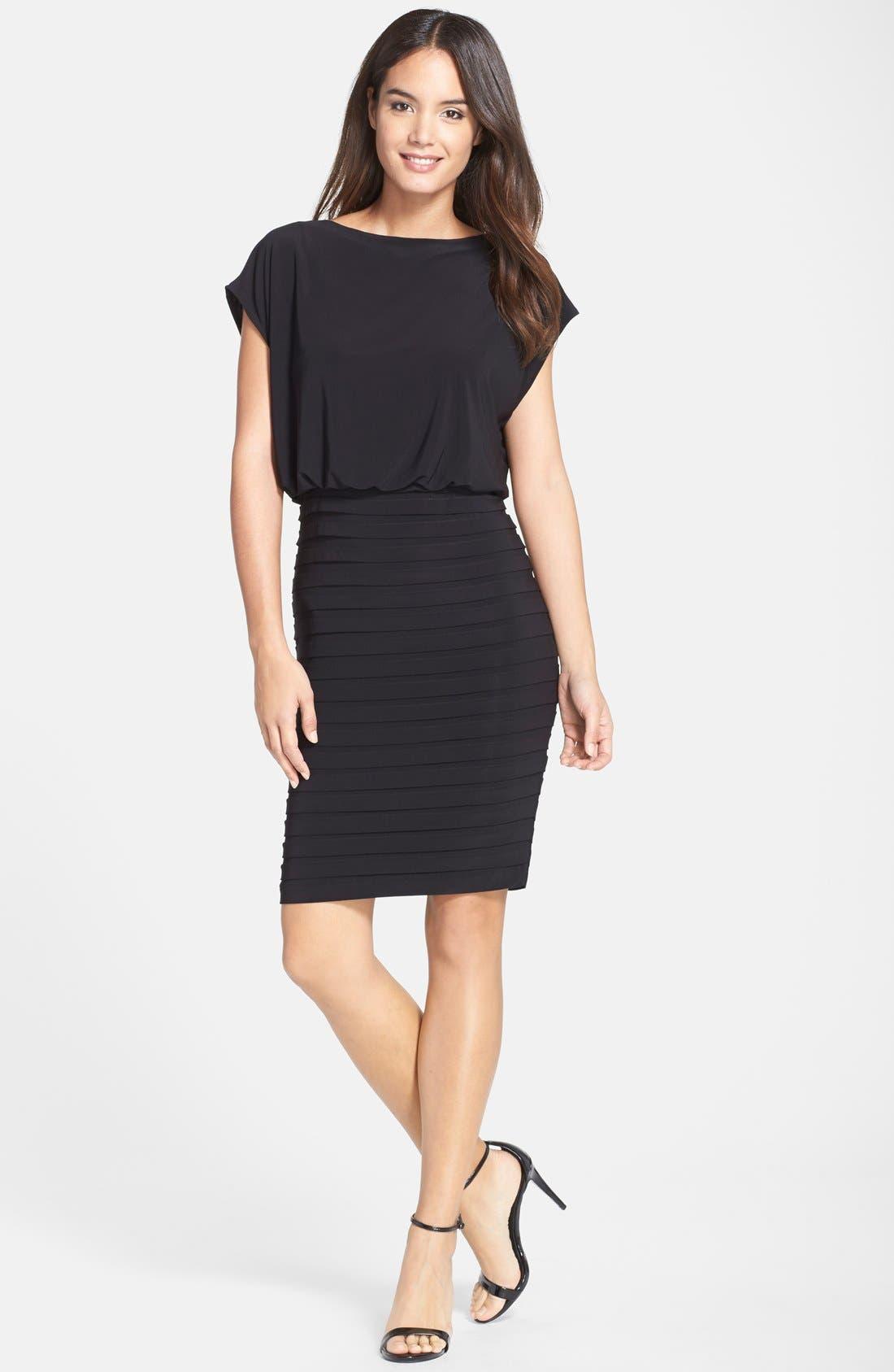 Pleated Jersey Blouson Dress,                             Alternate thumbnail 4, color,                             001