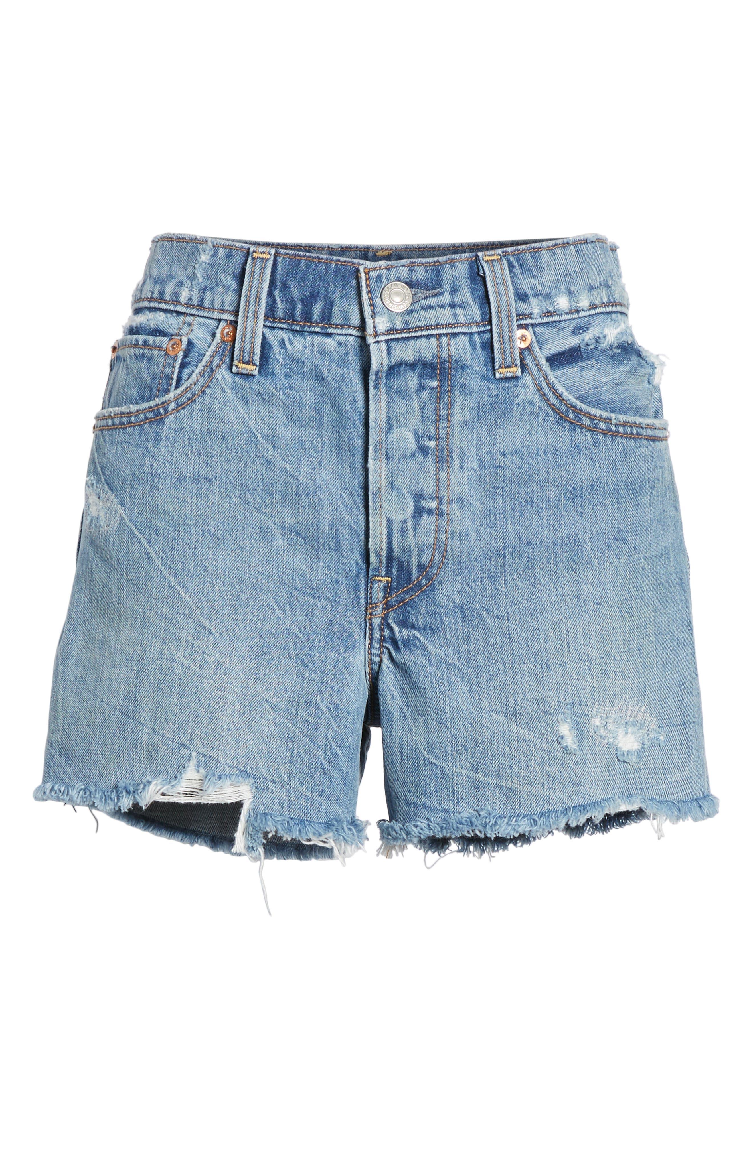 Wedgie High Waist Cutoff Denim Shorts,                             Alternate thumbnail 7, color,                             401