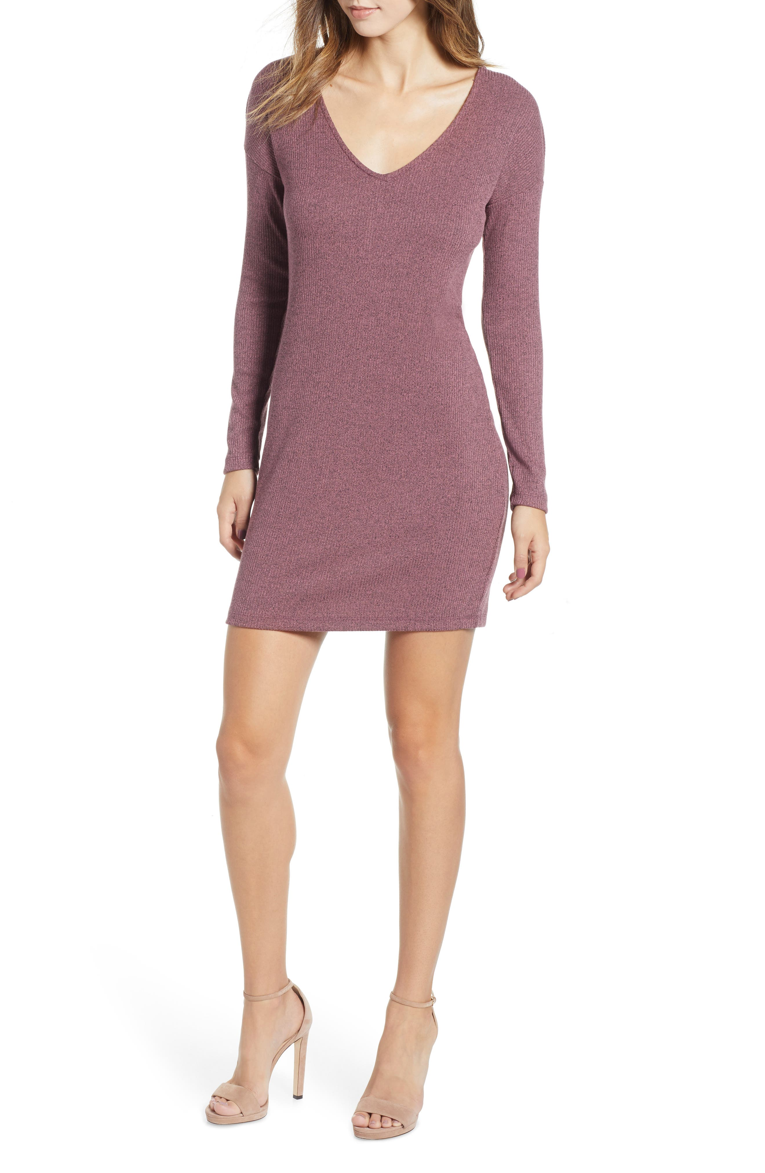 Socialite Twist Back Ribbed Dress, Purple