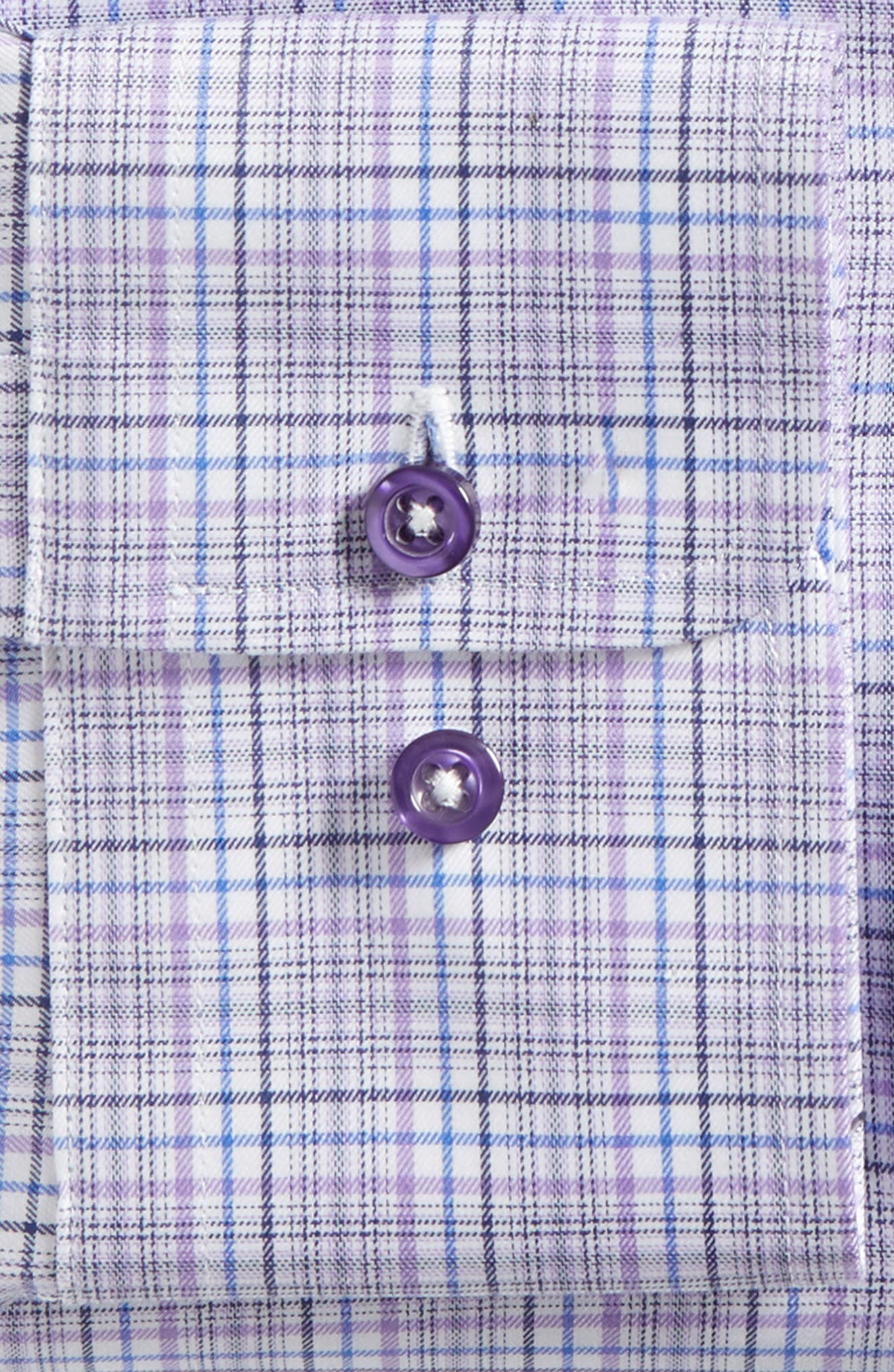 Trim Fit Plaid Dress Shirt,                             Alternate thumbnail 8, color,