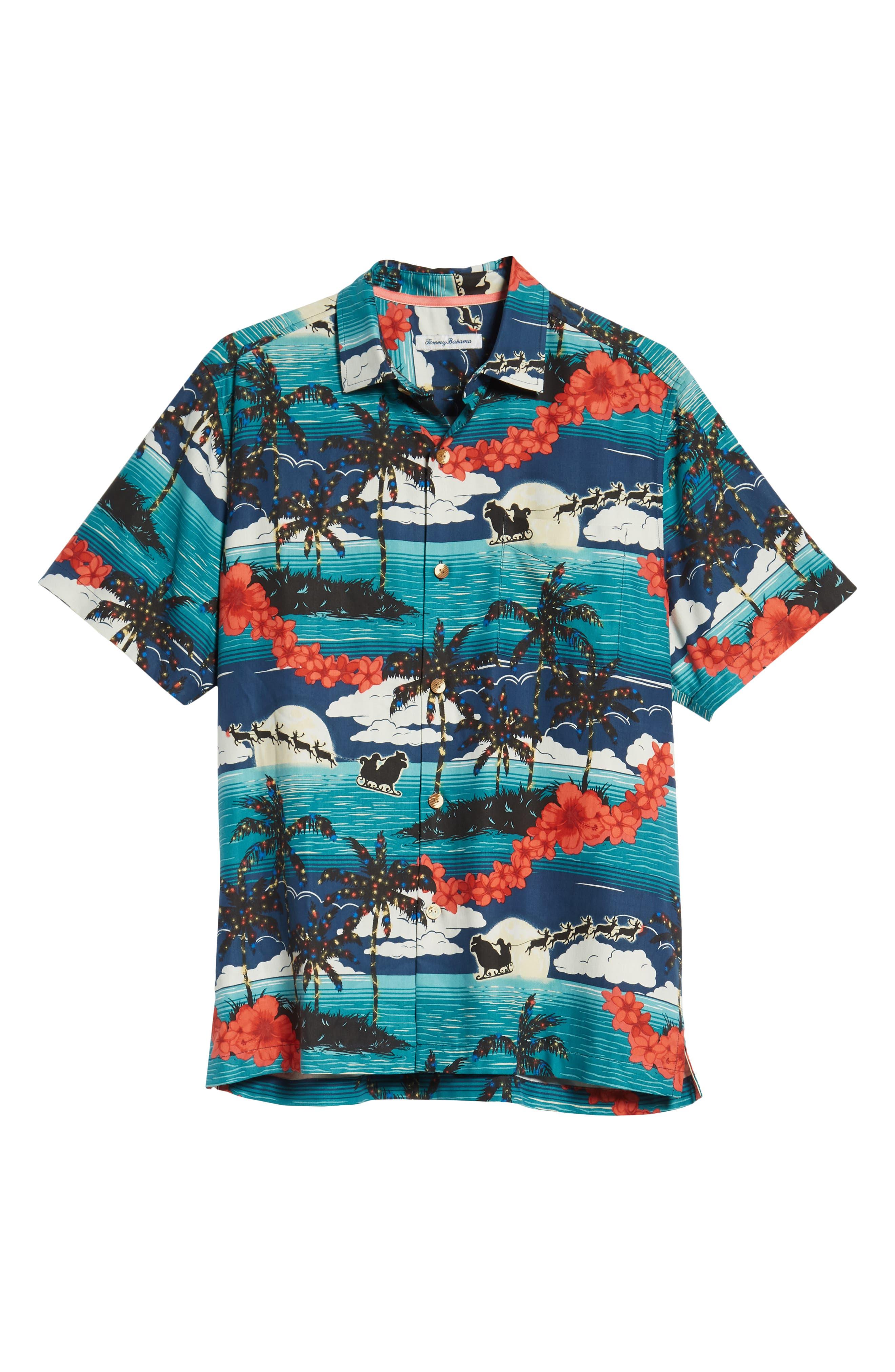Moonlight In Paradise Silk Camp Shirt,                             Alternate thumbnail 5, color,                             OCEAN DEEP