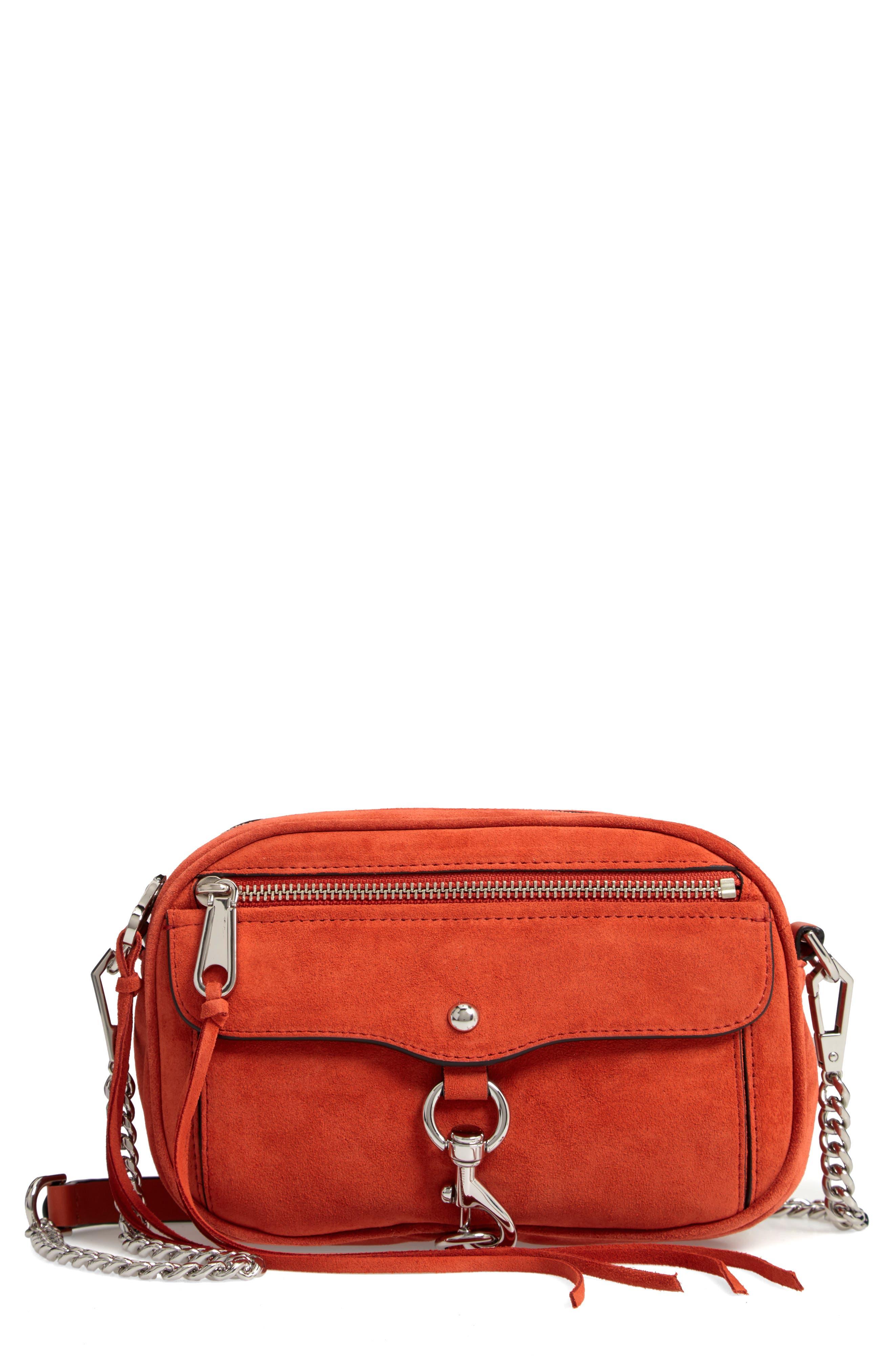REBECCA MINKOFF,                             Blythe Suede Crossbody Bag,                             Main thumbnail 1, color,                             RUST