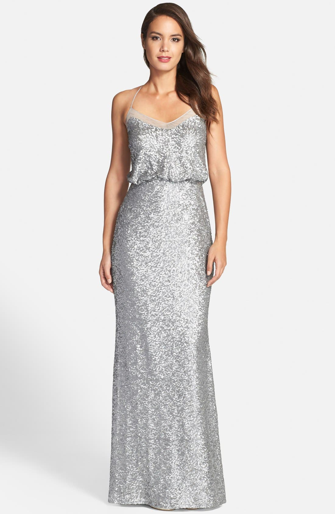 Badgley Mischka Sequin Mermaid Gown,                             Main thumbnail 1, color,                             042