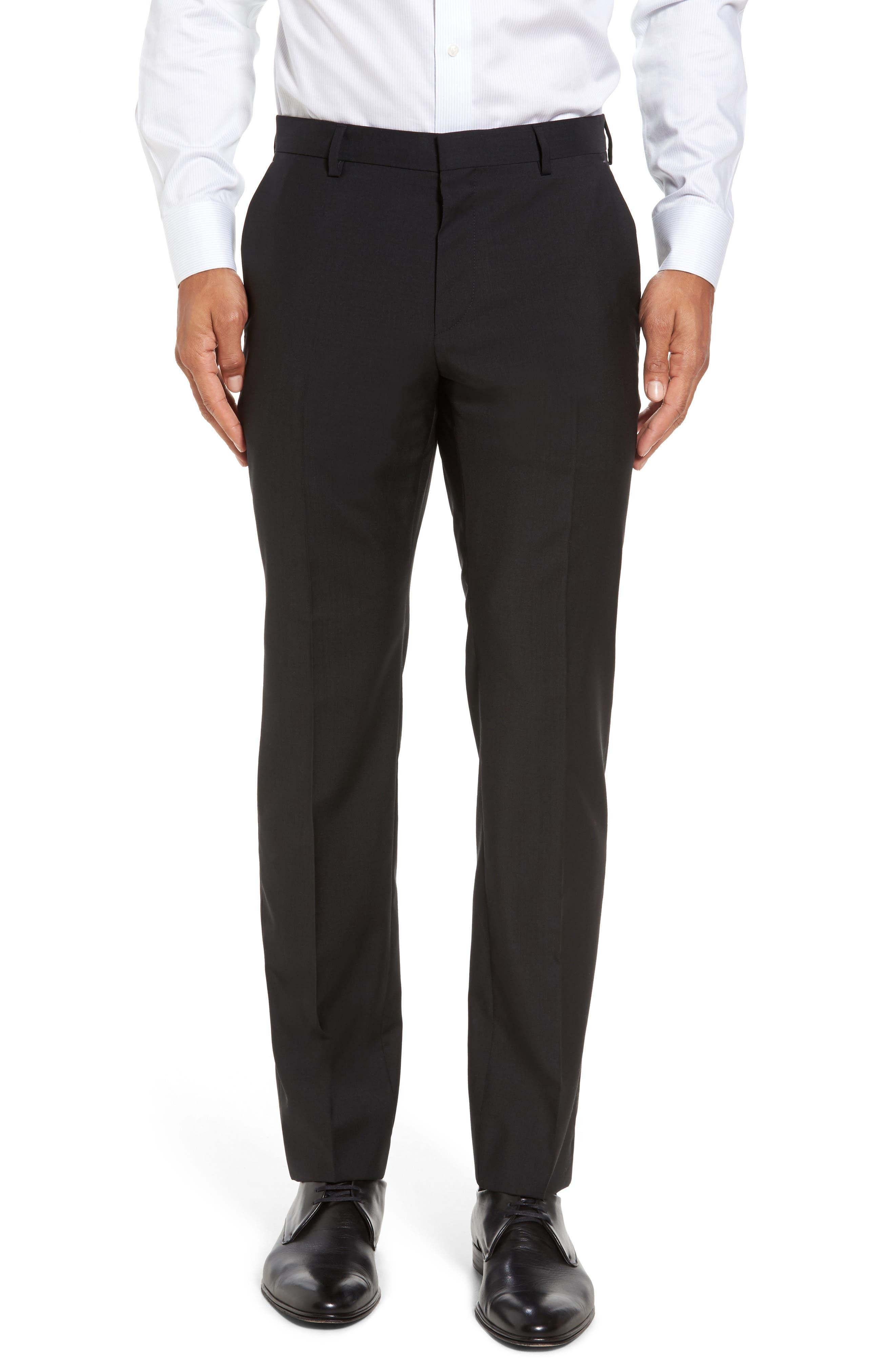 BOSS Genesis Flat Front Trim Fit Wool Trousers in Black