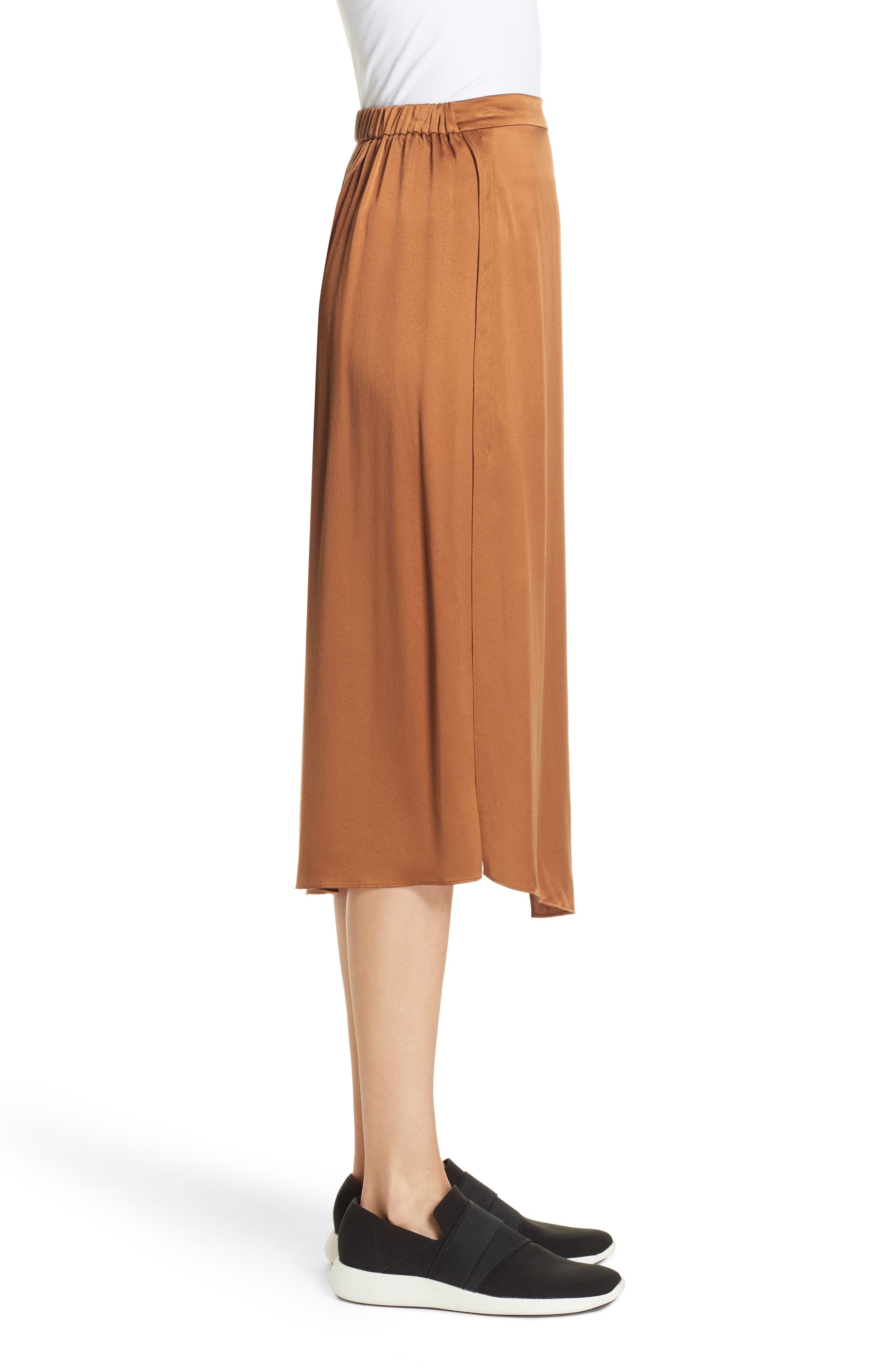 Drape Panel Silk Skirt,                             Alternate thumbnail 3, color,                             LIGHT COPPER