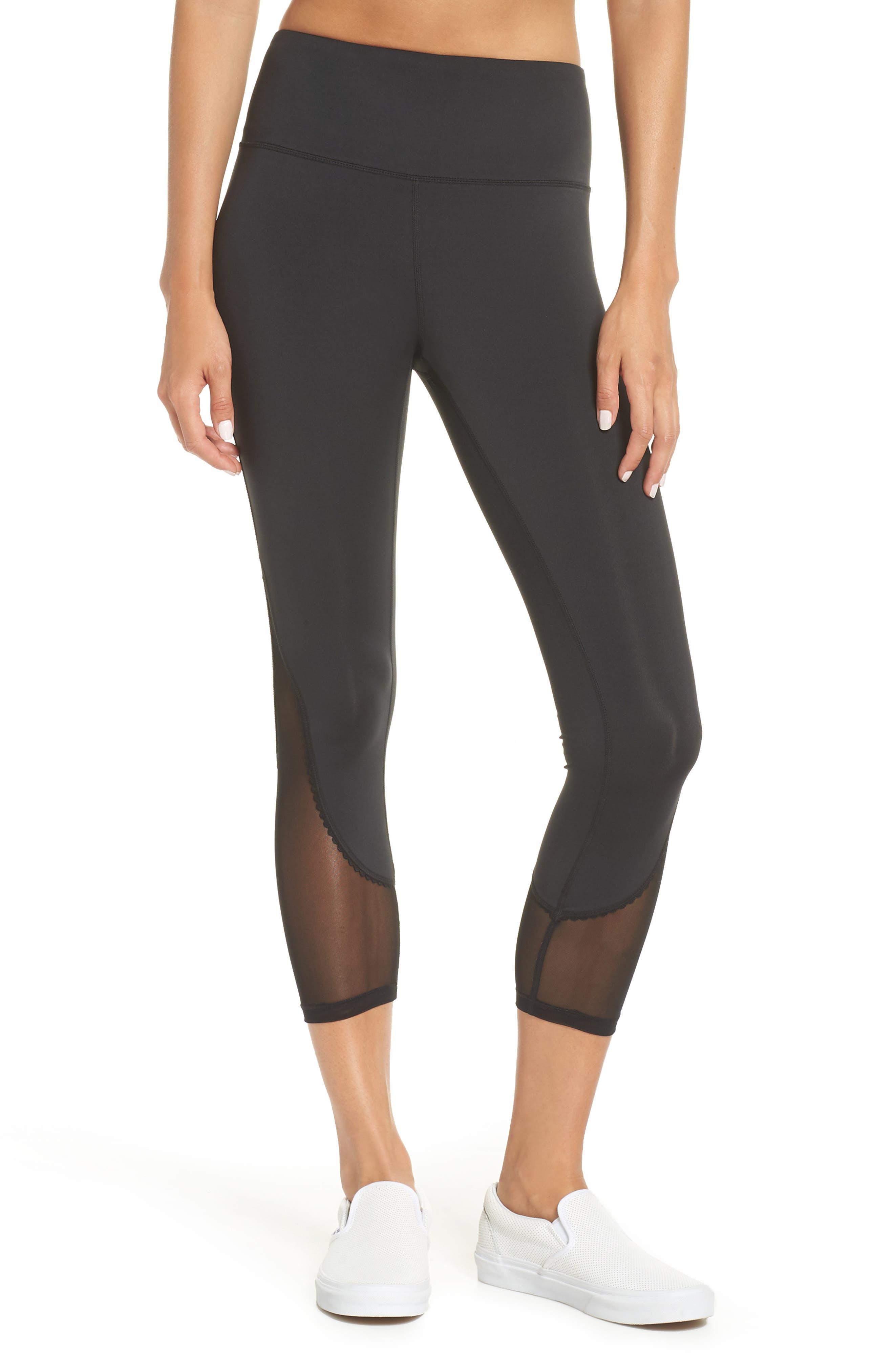 micro mesh leggings,                         Main,                         color, BLACK