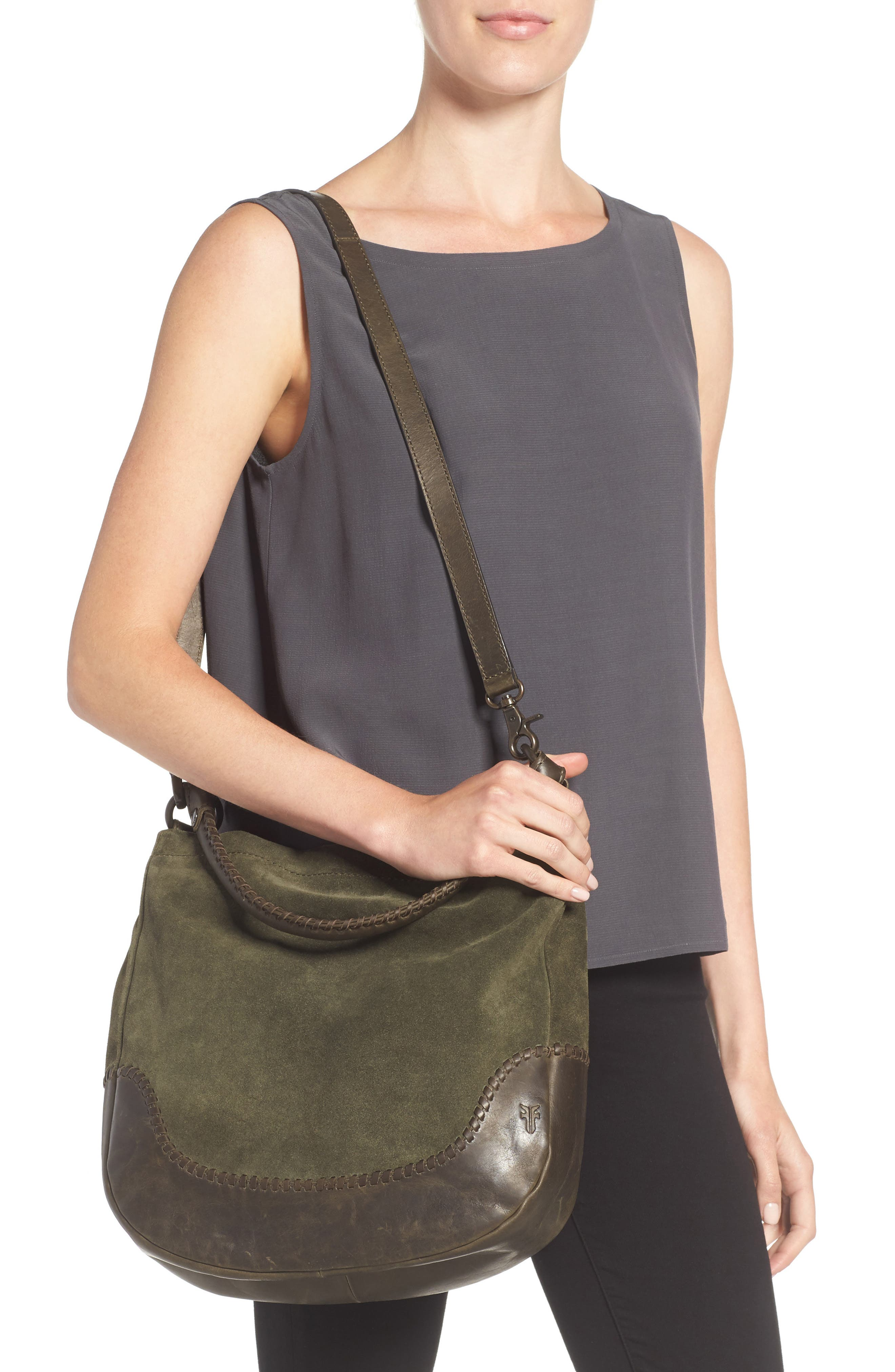 Melissa Suede & Whipstitch Leather Hobo,                             Alternate thumbnail 2, color,