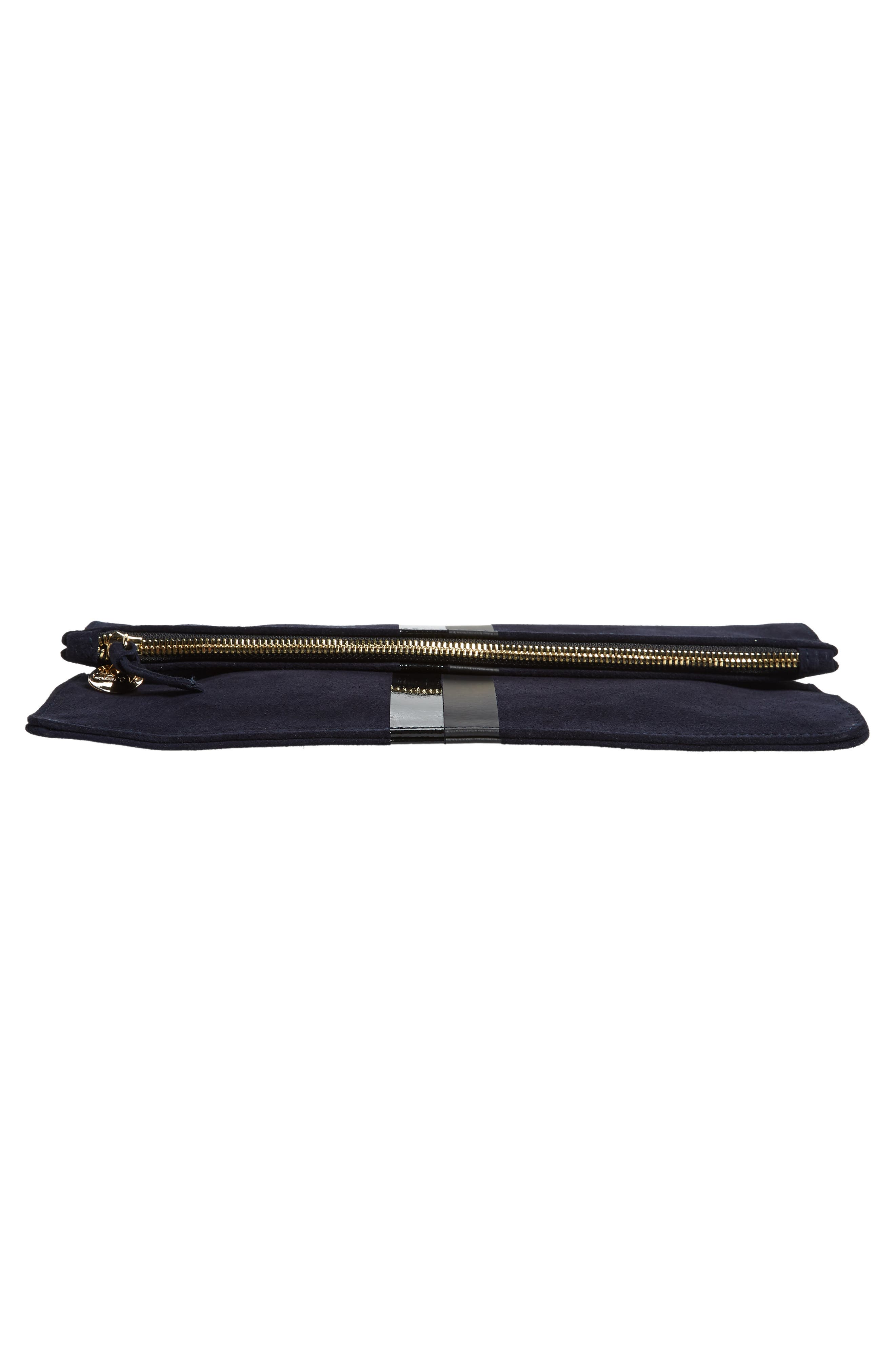 Margot Suede Foldover Clutch,                             Alternate thumbnail 6, color,                             NAVY