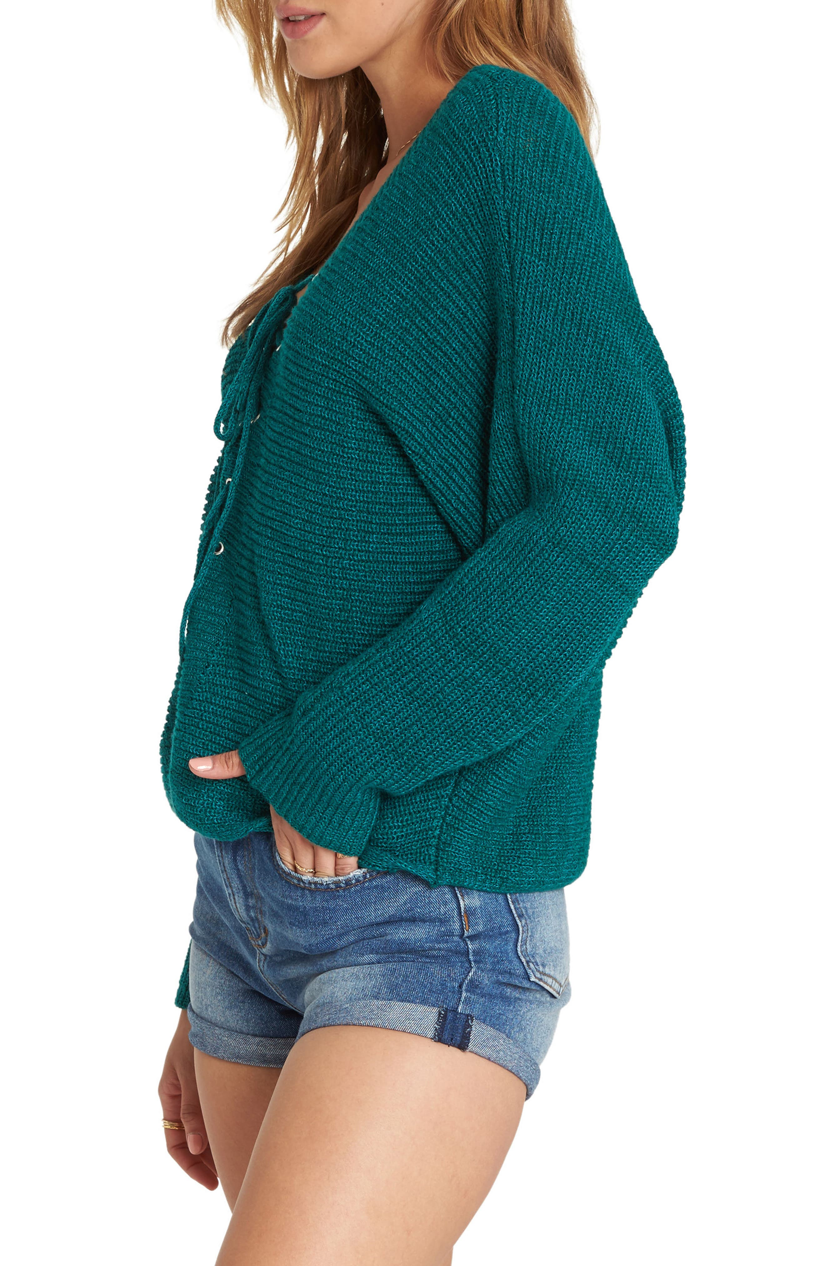 Lace-Up Sweater,                             Alternate thumbnail 3, color,                             DEEP LAGOON