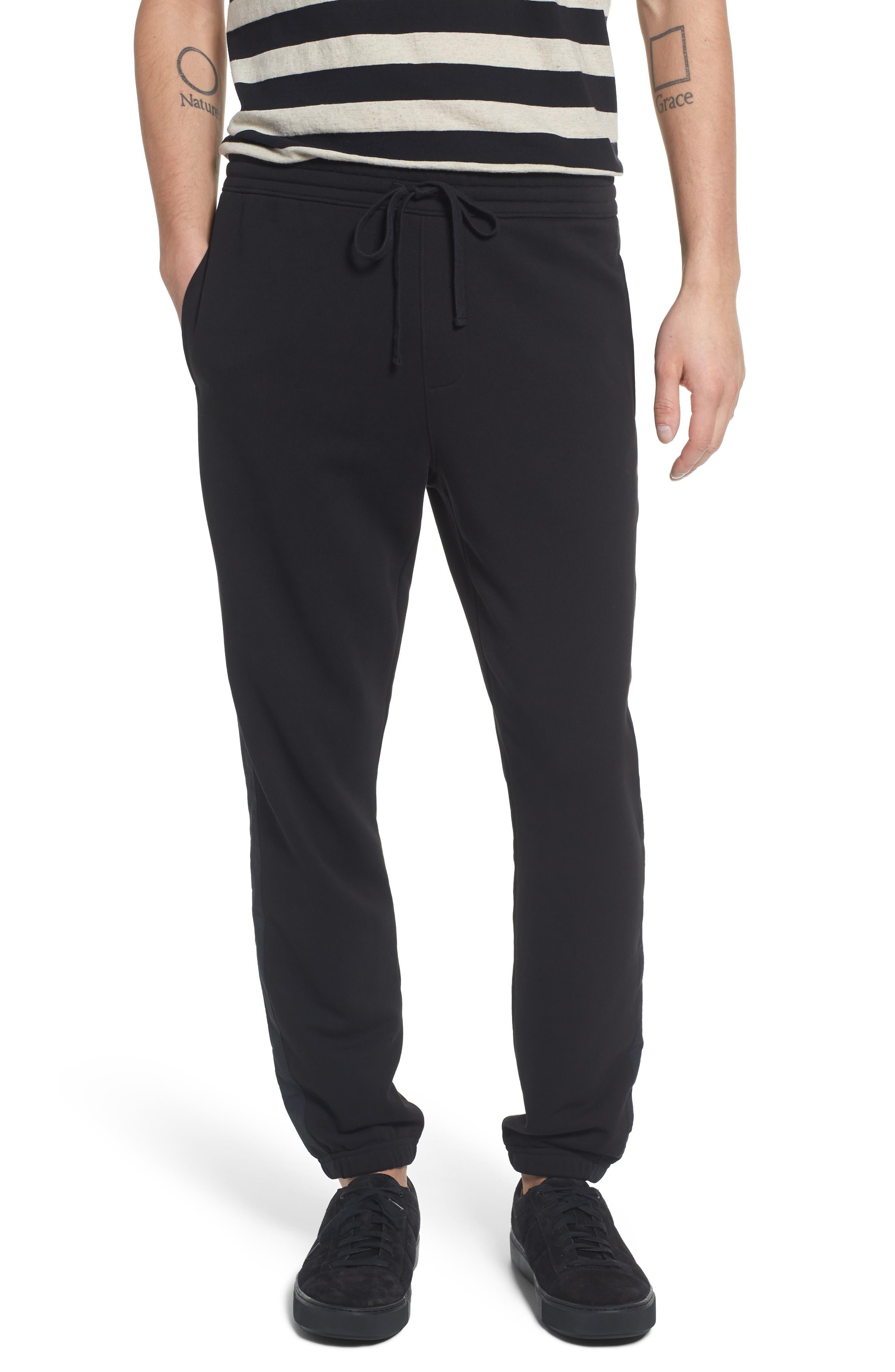 Mix Media Regular Fit Cotton Sweatpants,                             Main thumbnail 1, color,                             BLACK