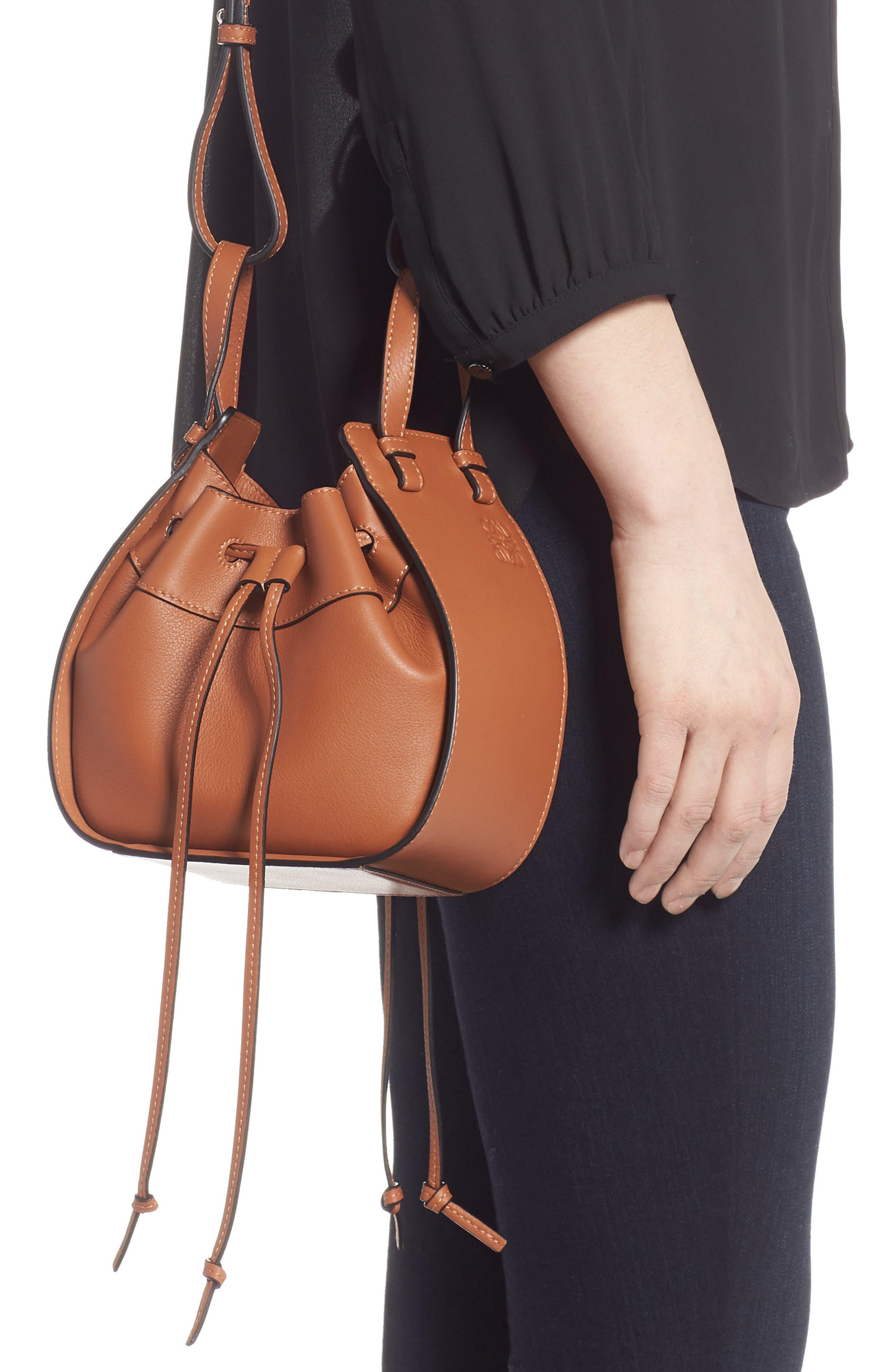 LOEWE,                             Mini Hammock Calfskin Leather Hobo Bag,                             Alternate thumbnail 3, color,                             TAN