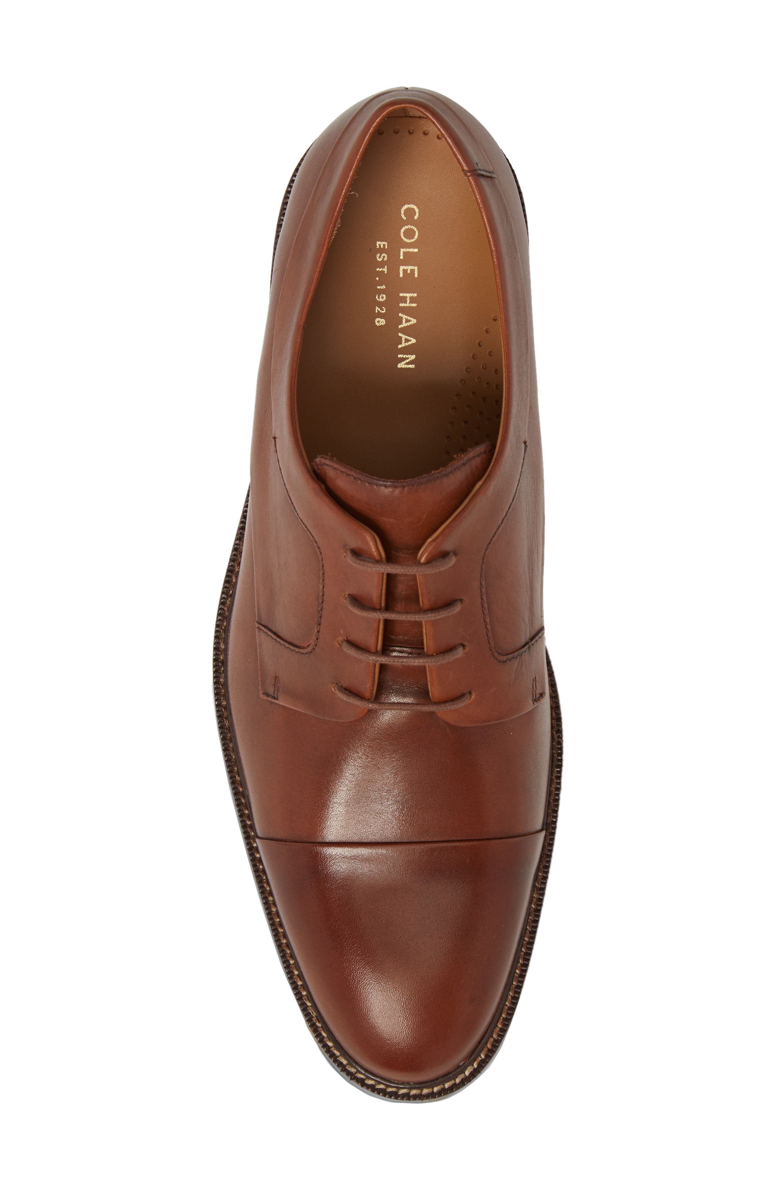 Warren Cap Toe Derby,                             Alternate thumbnail 5, color,                             BRITISH TAN LEATHER