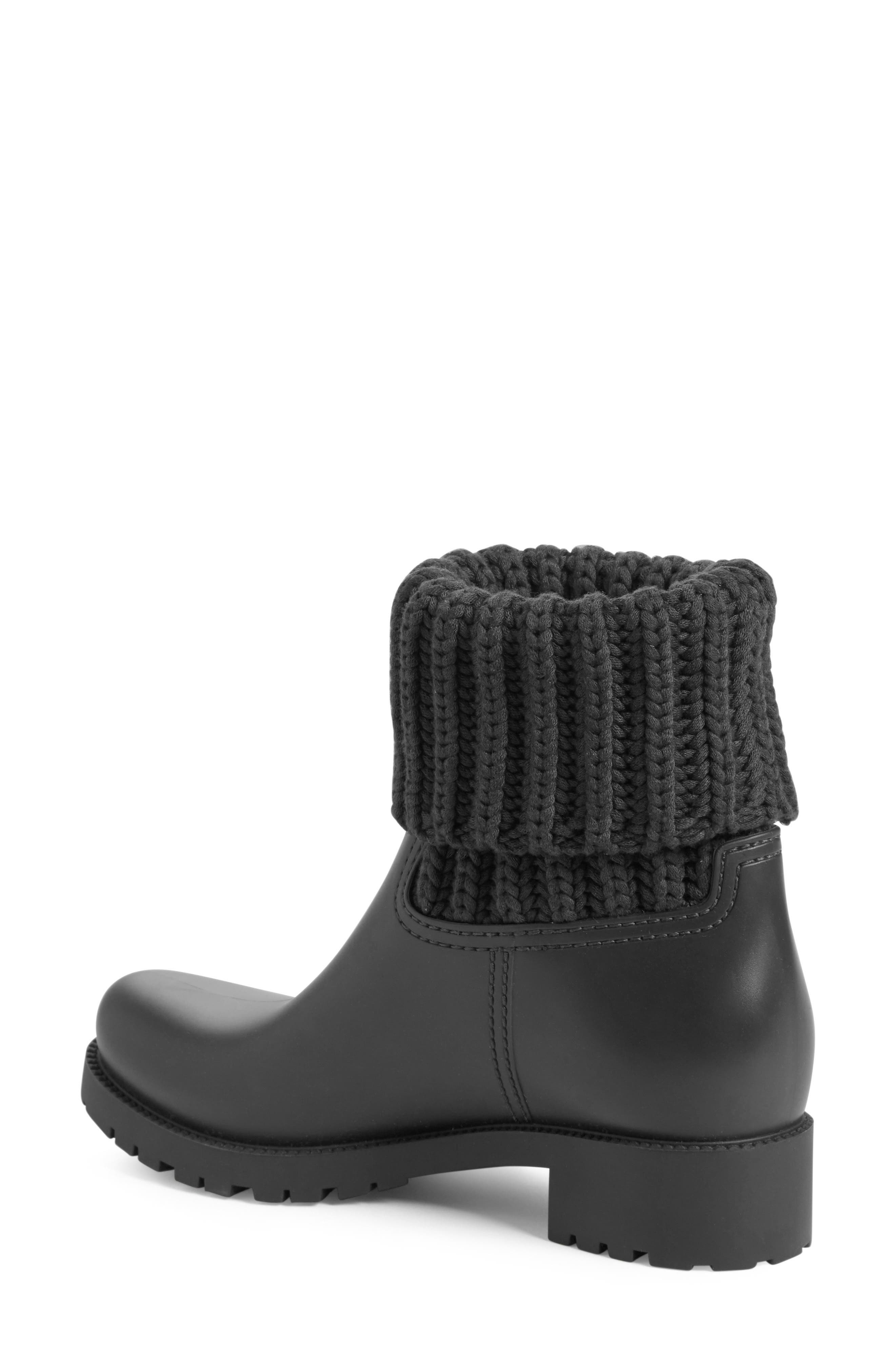 Ginette Knit Cuff Leather Rain Boot,                             Alternate thumbnail 2, color,                             002