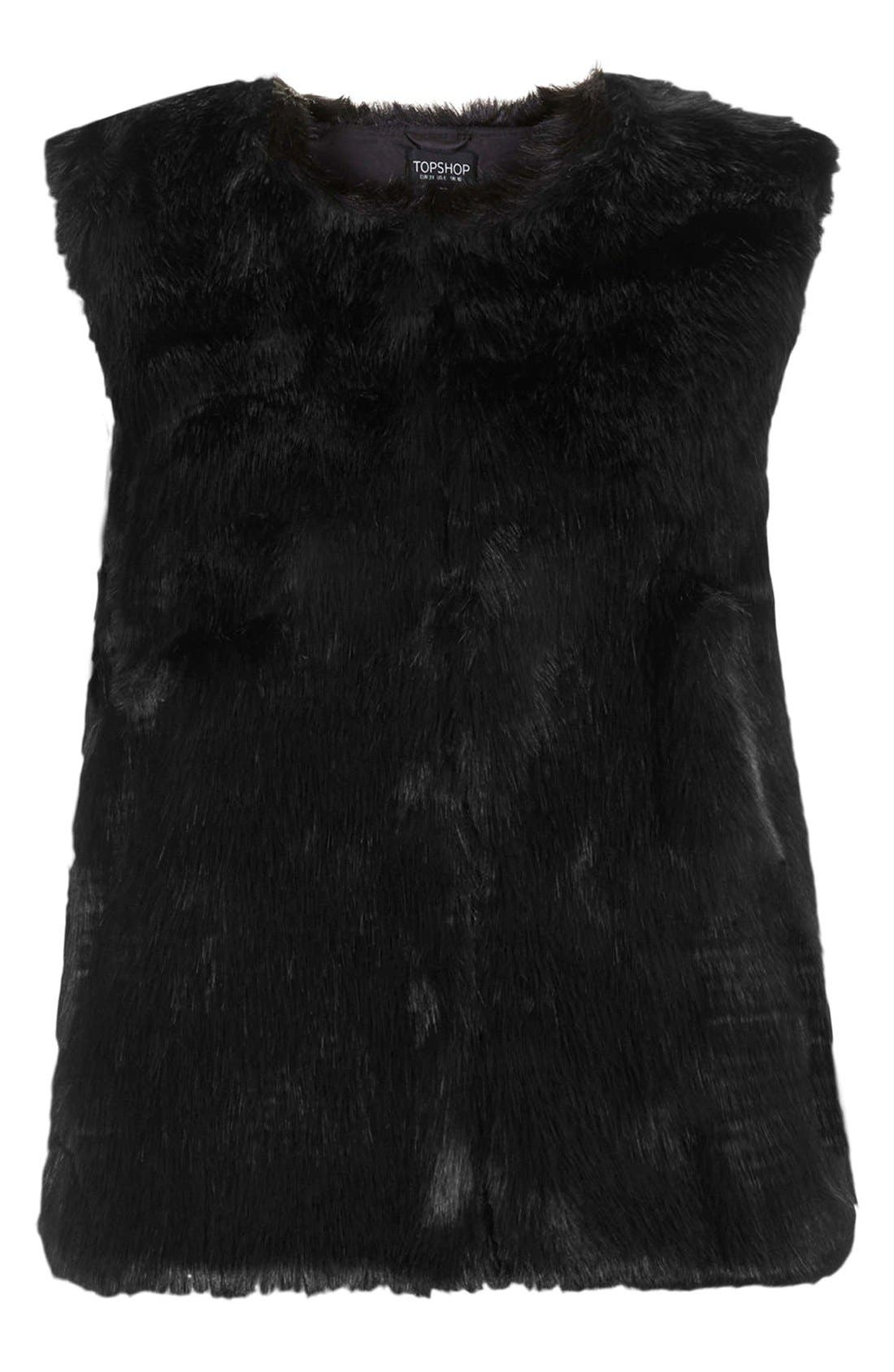 Faux Fur Gilet Vest,                             Alternate thumbnail 3, color,                             001