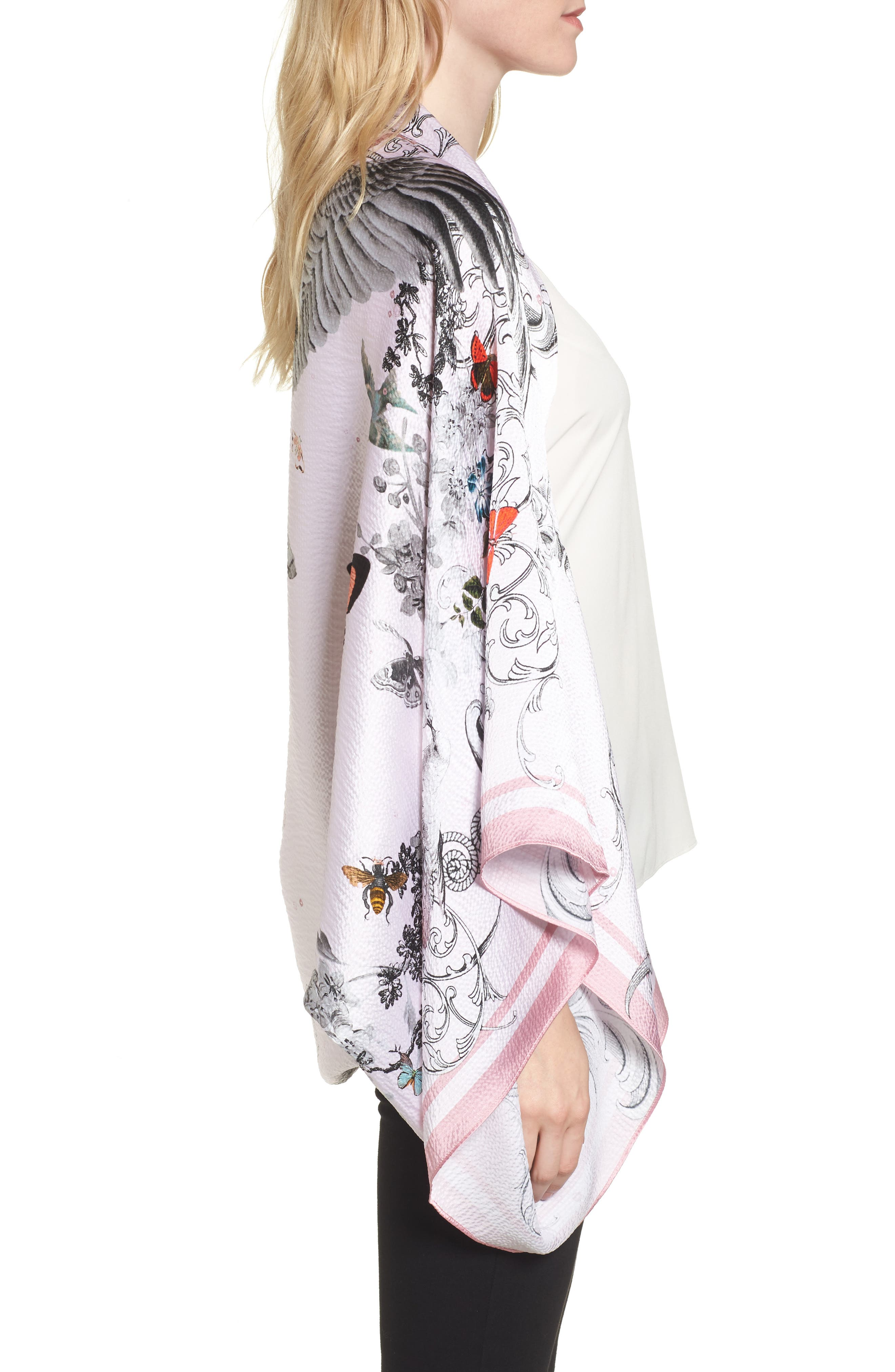 Enchanted Dream Silk Cape Scarf,                             Alternate thumbnail 3, color,                             680