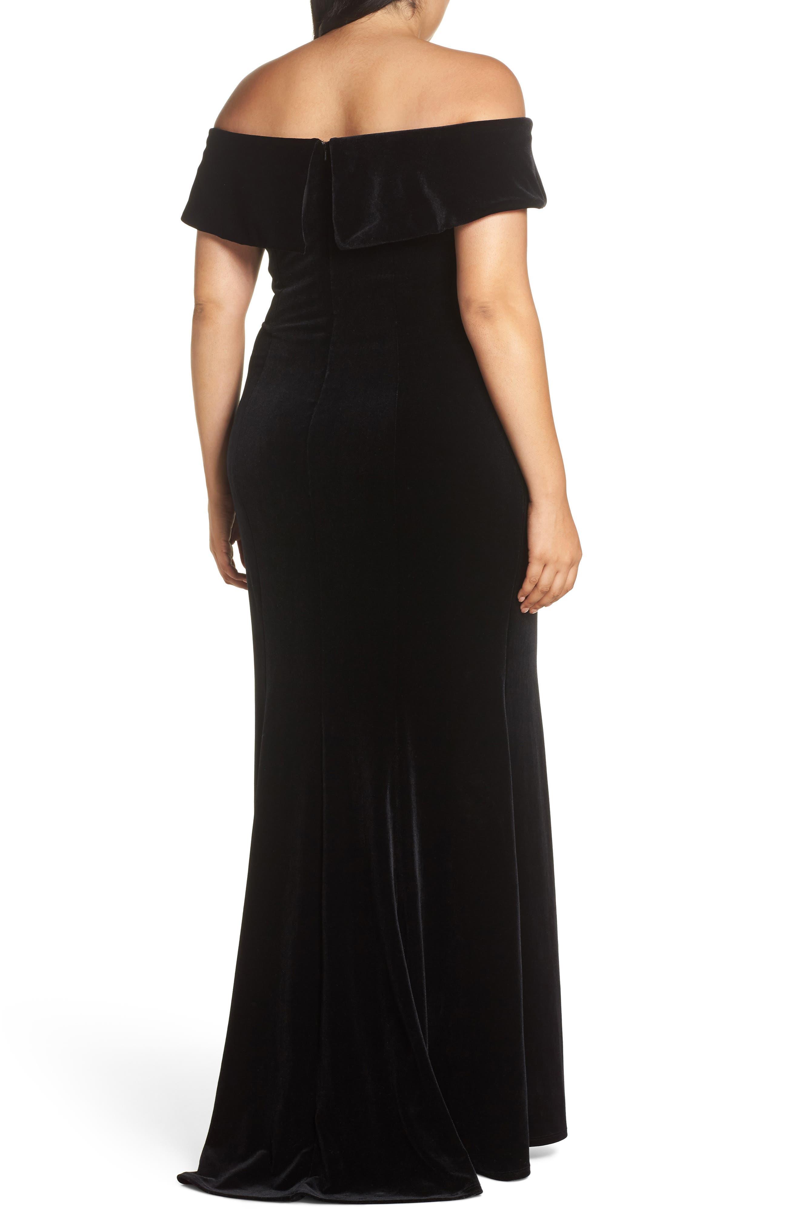 Off the Shoulder Velvet Gown,                             Alternate thumbnail 2, color,                             BLACK