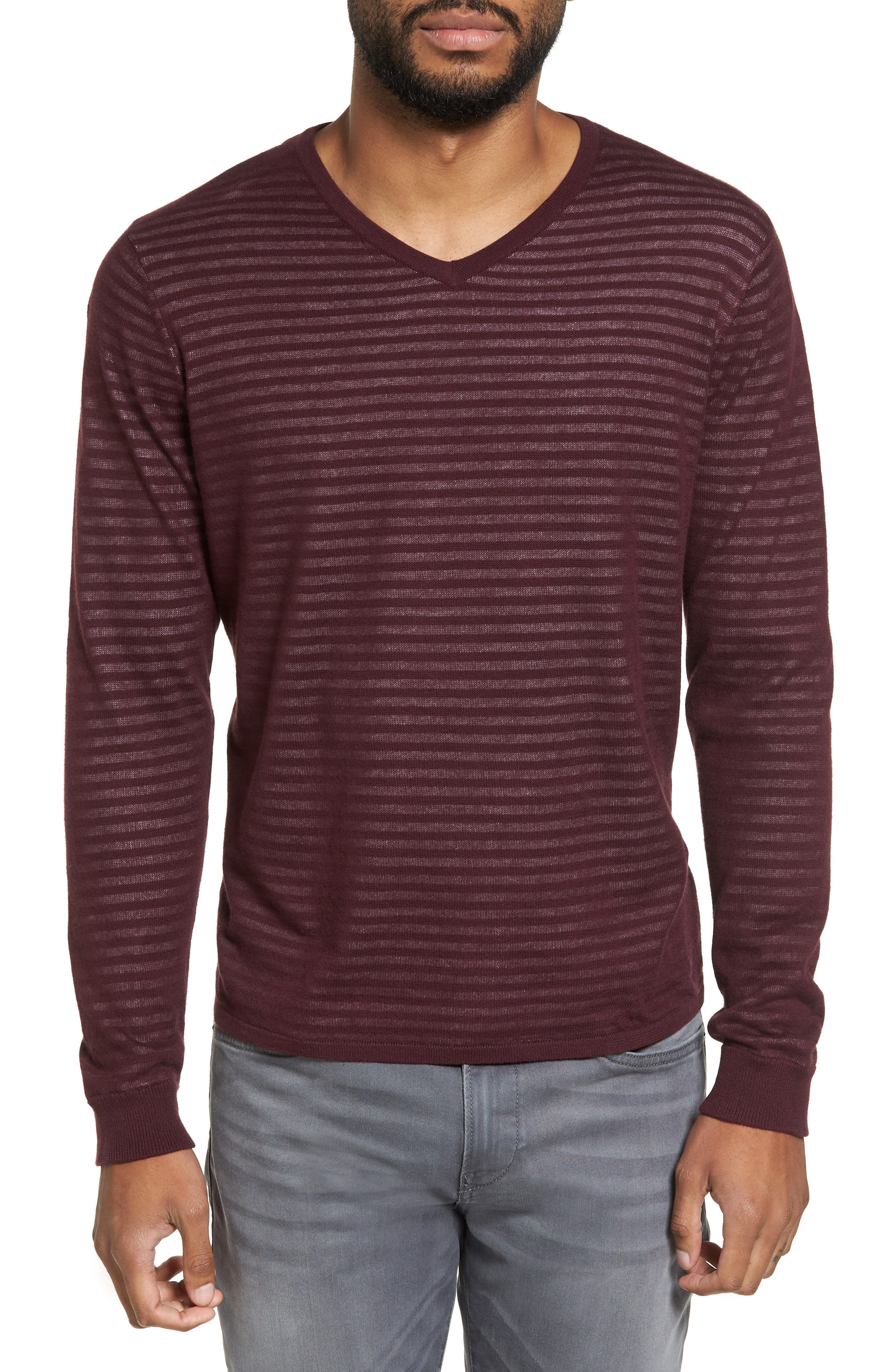 Stripe V-Neck Double Layer Sweater,                             Main thumbnail 2, color,