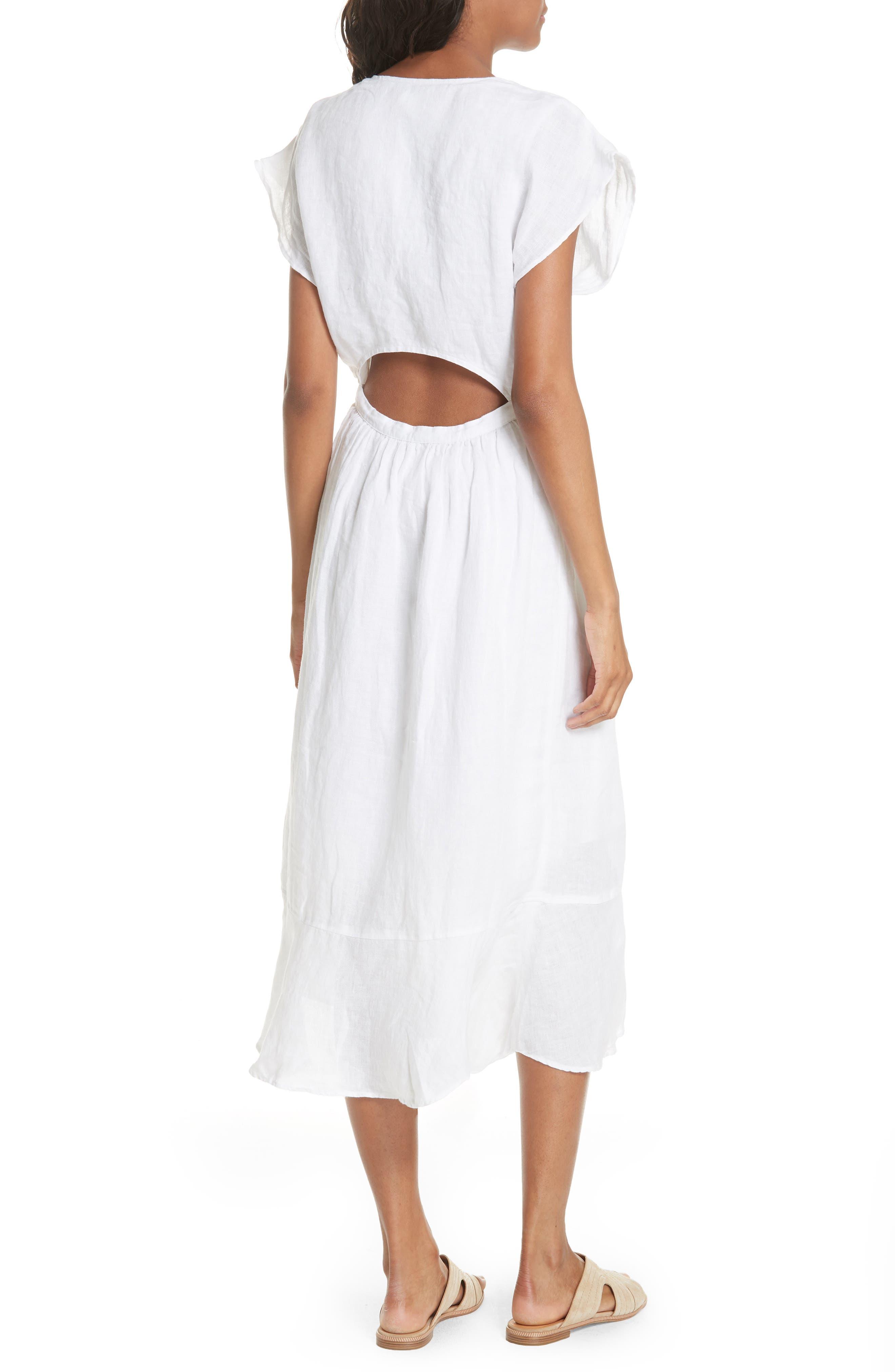 Filma Back Cutout Linen Wrap Dress,                             Alternate thumbnail 2, color,                             120