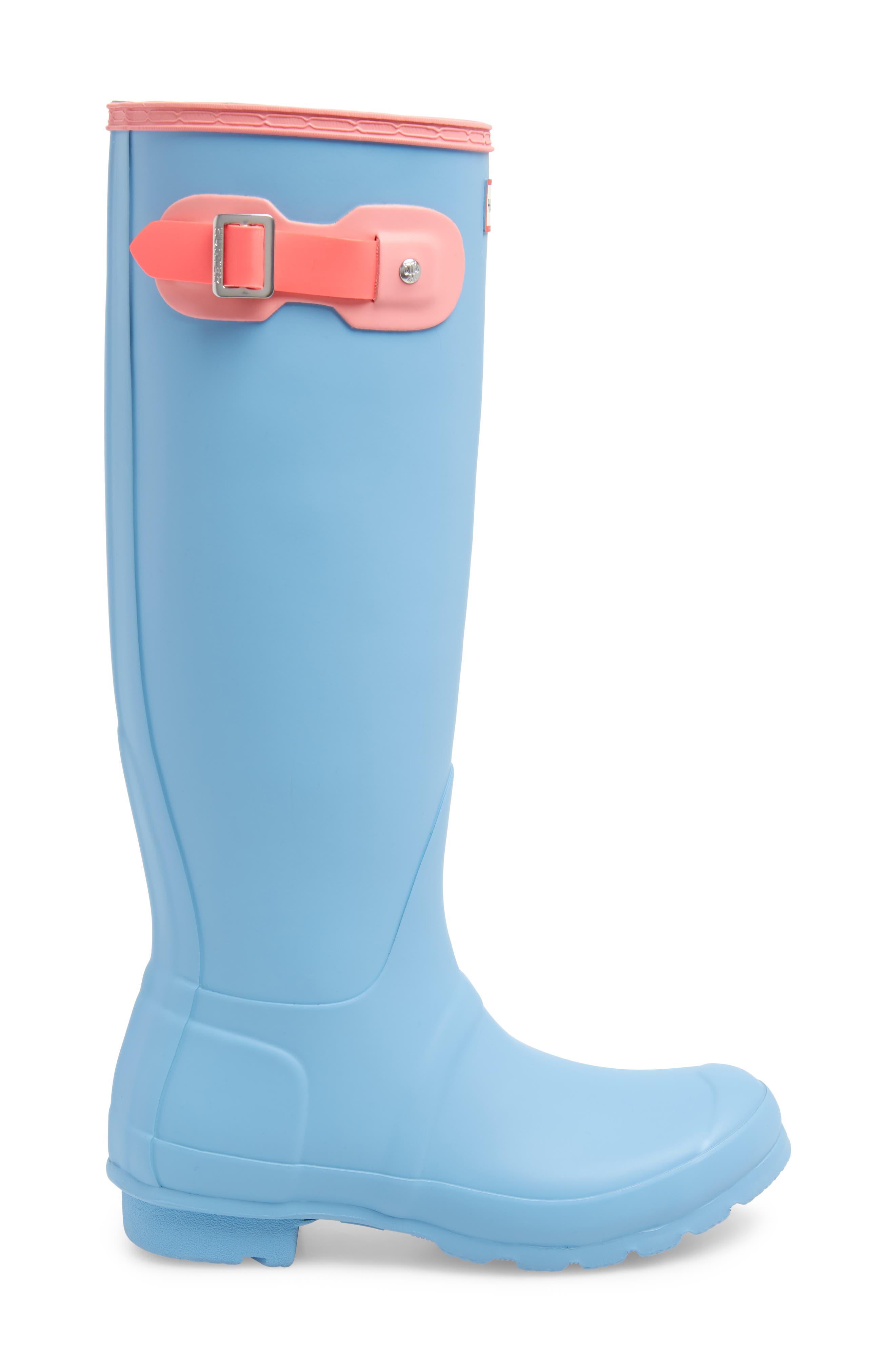 Original Colorblock Knee High Rain Boot,                             Alternate thumbnail 3, color,                             PALE BLUE