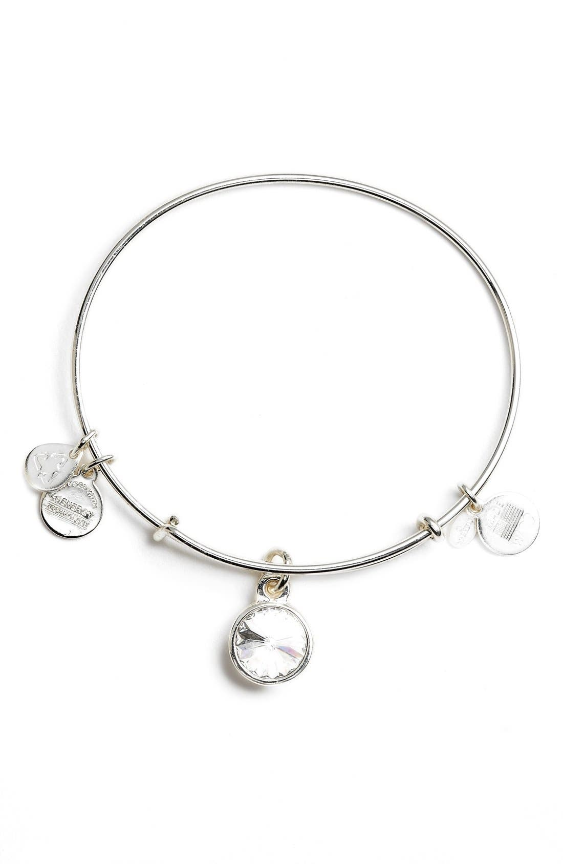 ALEX AND ANI Birthstone Expandable Wire Bangle, Main, color, 100