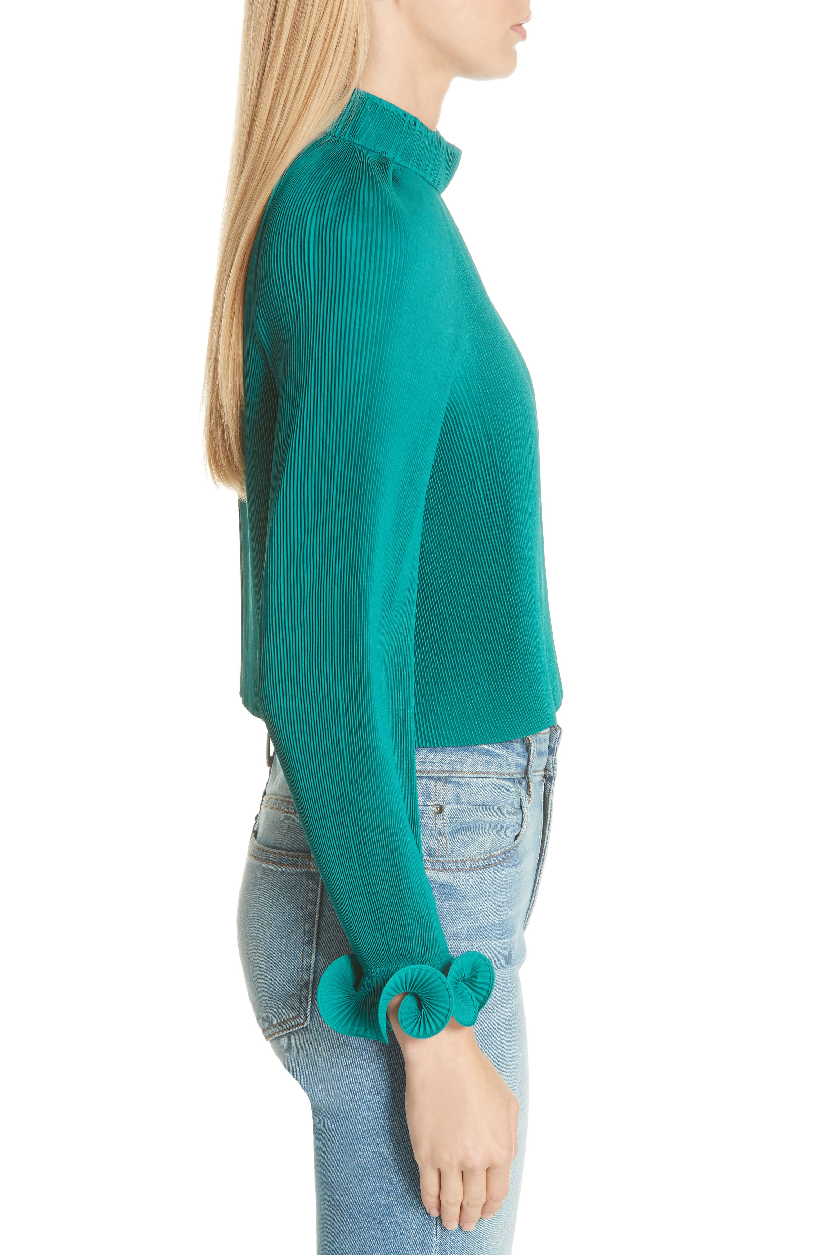 Pleated Crop Top,                             Alternate thumbnail 3, color,                             301