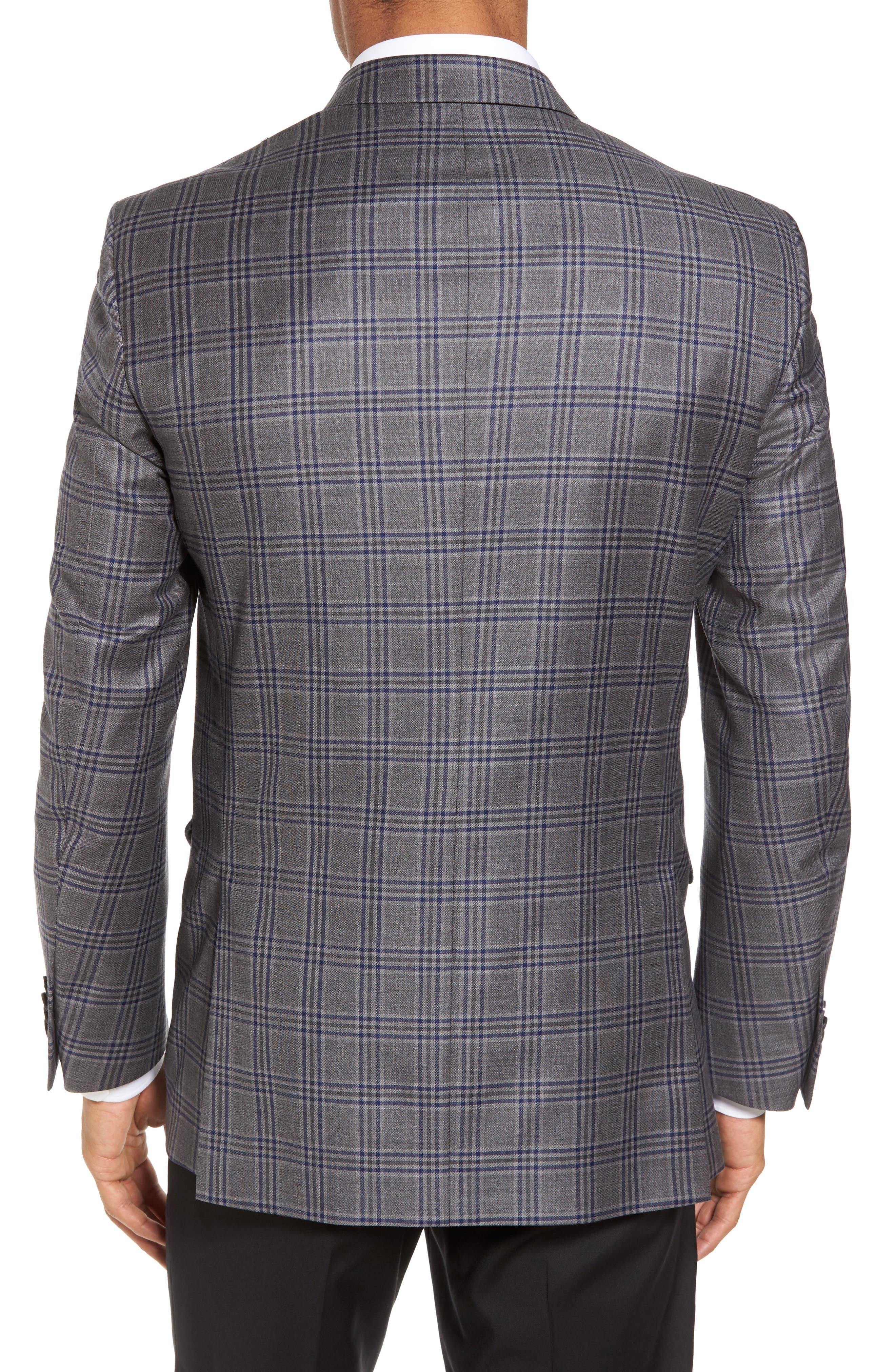 Classic Fit Plaid Wool Sport Coat,                             Alternate thumbnail 2, color,