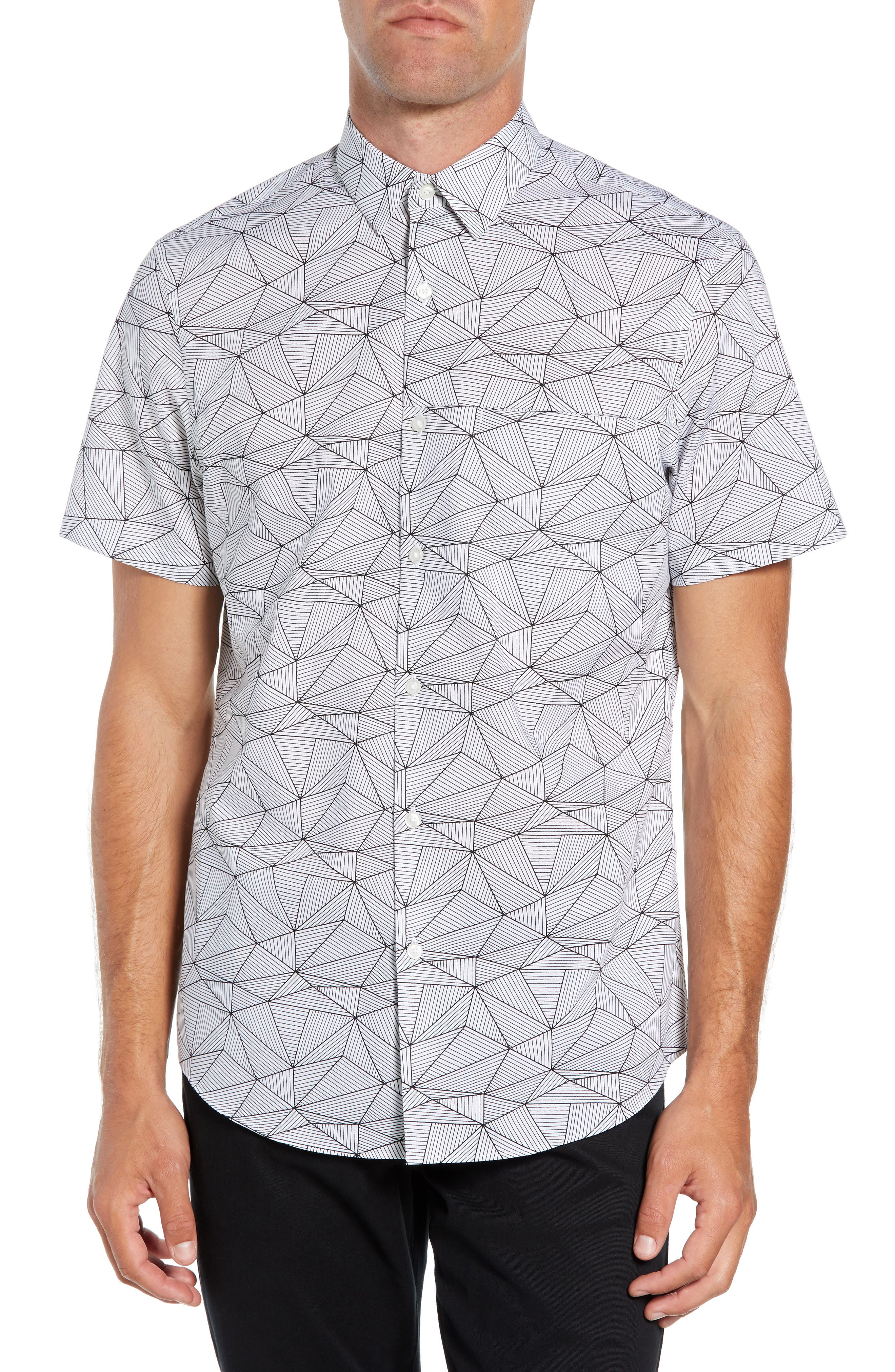 Calibrate Slim Fit Linear Print Non-Iron Sport Shirt